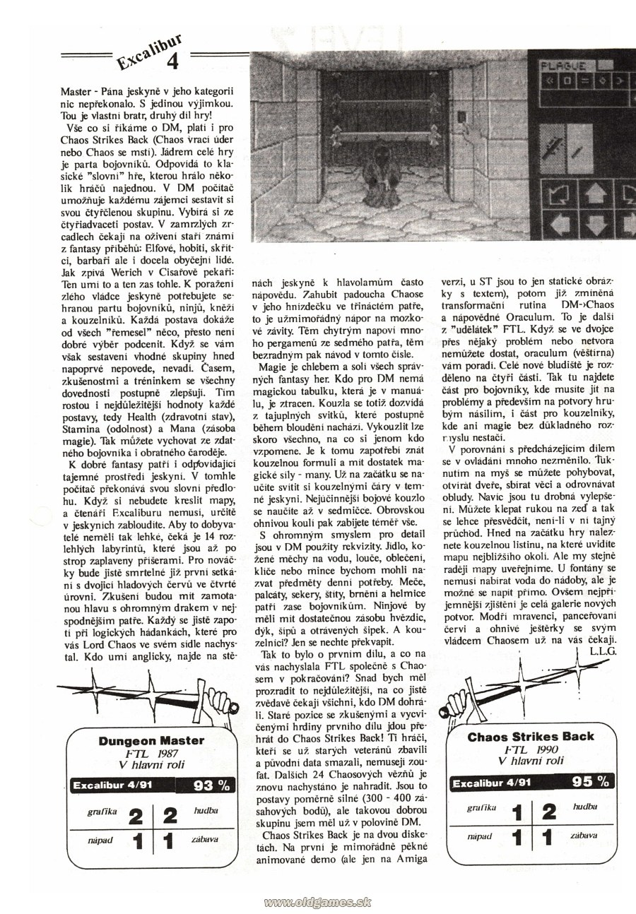 Dungeon Master And Chaos Strikes Back Review published in Czech magazine 'Excalibur', Issue #4 July 1991, Page 4