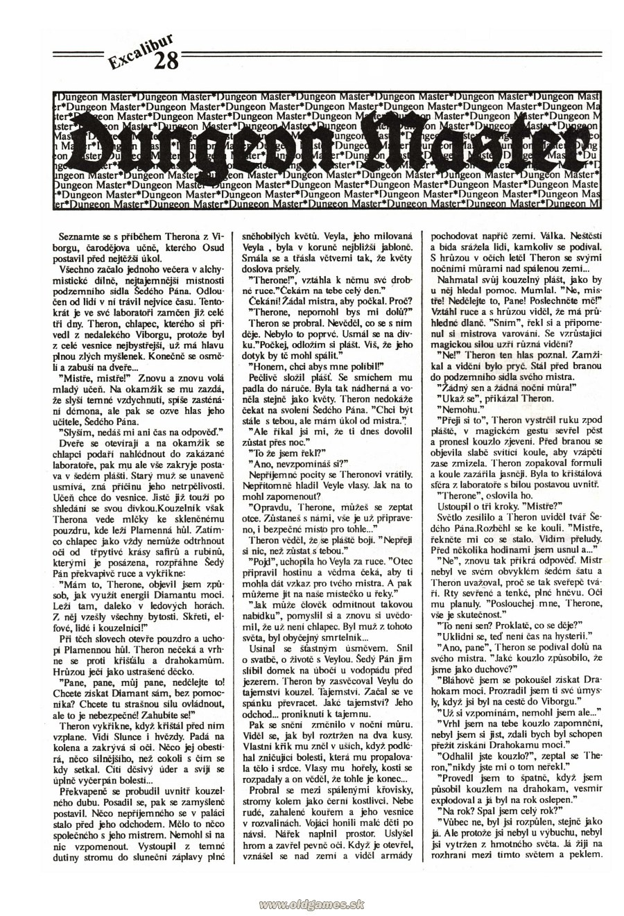 Dungeon Master Guide published in Czech magazine 'Excalibur', Issue #4 July 1991, Page 28