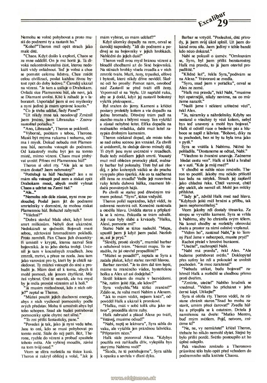 Dungeon Master Guide published in Czech magazine 'Excalibur', Issue #4 July 1991, Page 29