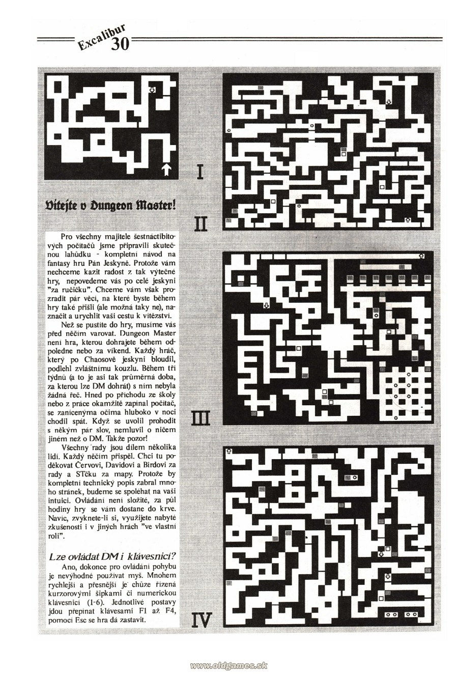 Dungeon Master Guide published in Czech magazine 'Excalibur', Issue #4 July 1991, Page 30