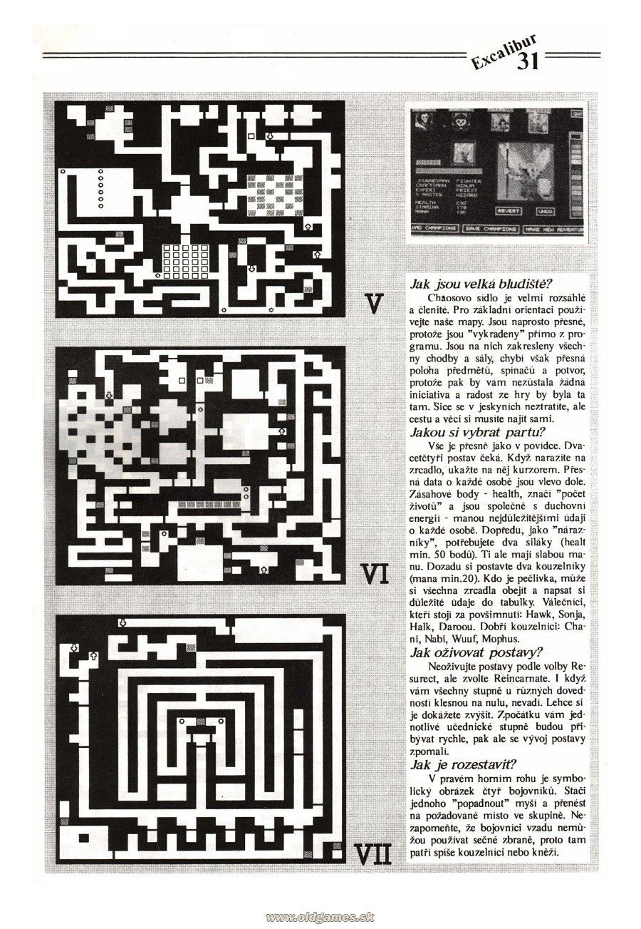 Dungeon Master Guide published in Czech magazine 'Excalibur', Issue #4 July 1991, Page 31