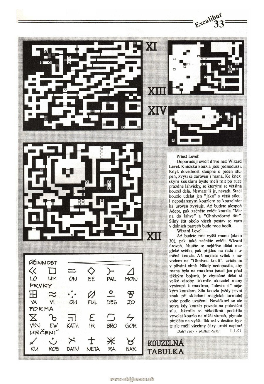 Dungeon Master Guide published in Czech magazine 'Excalibur', Issue #4 July 1991, Page 33