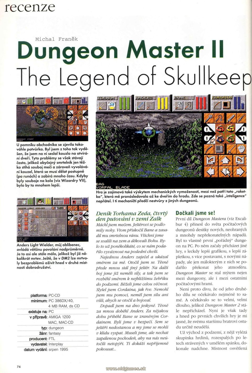 Dungeon Master II for PC Review published in Czech magazine 'Excalibur', Issue #50 October 1995, Page 74
