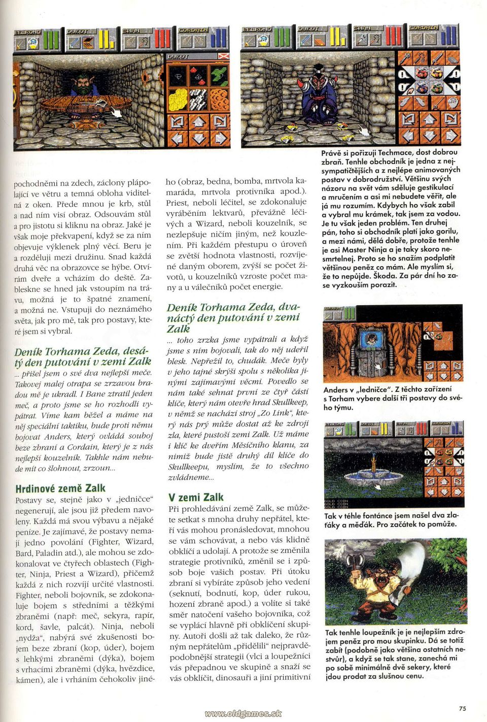 Dungeon Master II for PC Review published in Czech magazine 'Excalibur', Issue #50 October 1995, Page 75