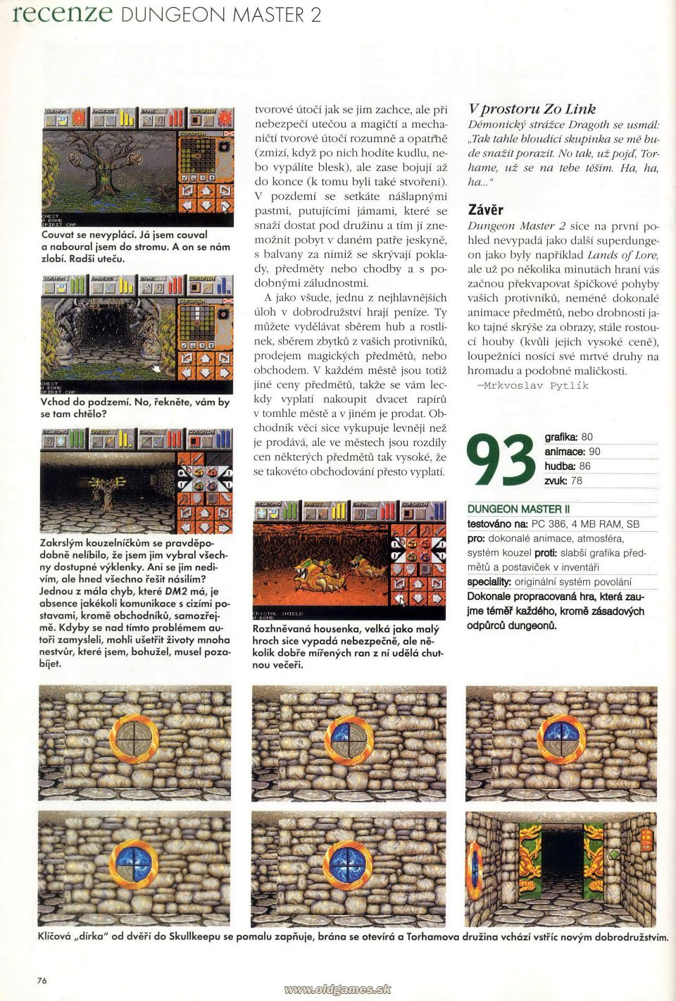 Dungeon Master II for PC Review published in Czech magazine 'Excalibur', Issue #50 October 1995, Page 76