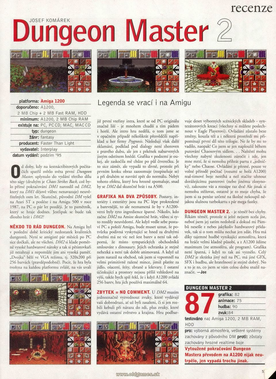 Dungeon Master II for Amiga Review published in Czech magazine 'Excalibur', Issue #52 February 1996, Page 53