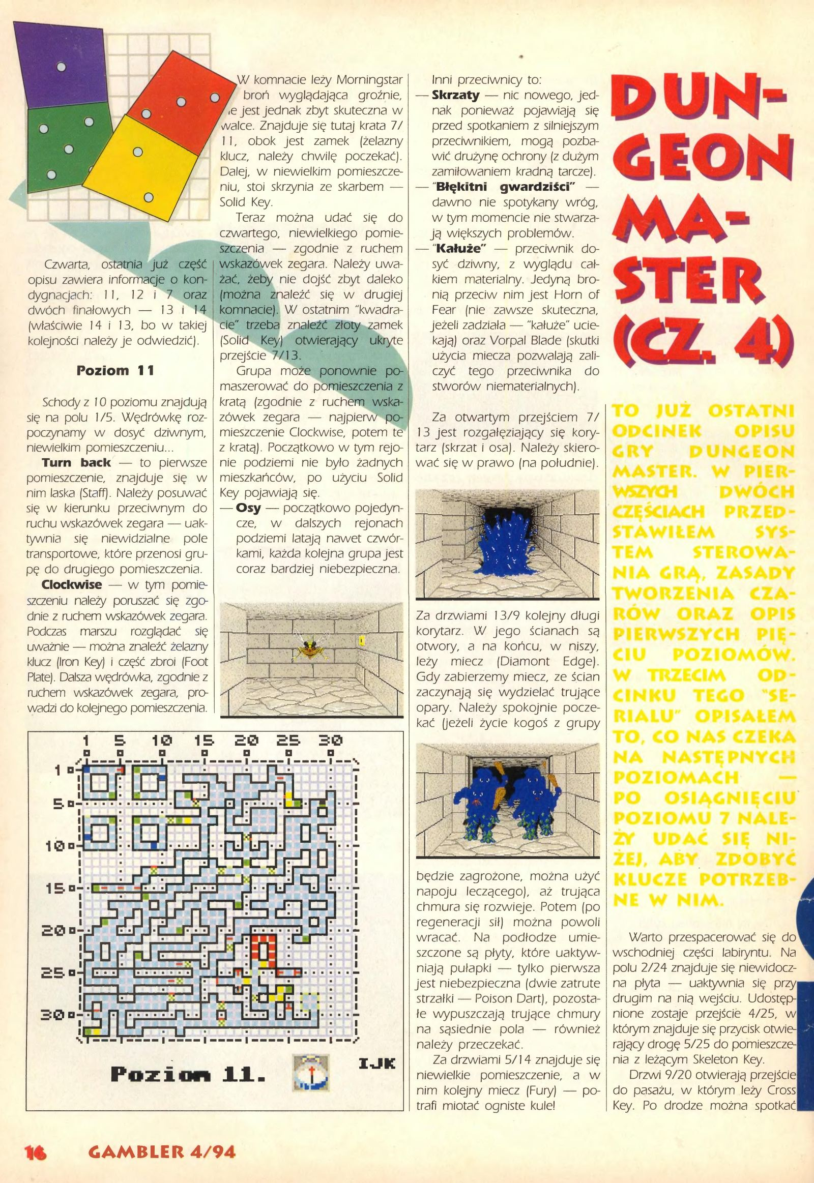 Dungeon Master Guide published in Polish magazine 'Gambler', April 1994, Page 16