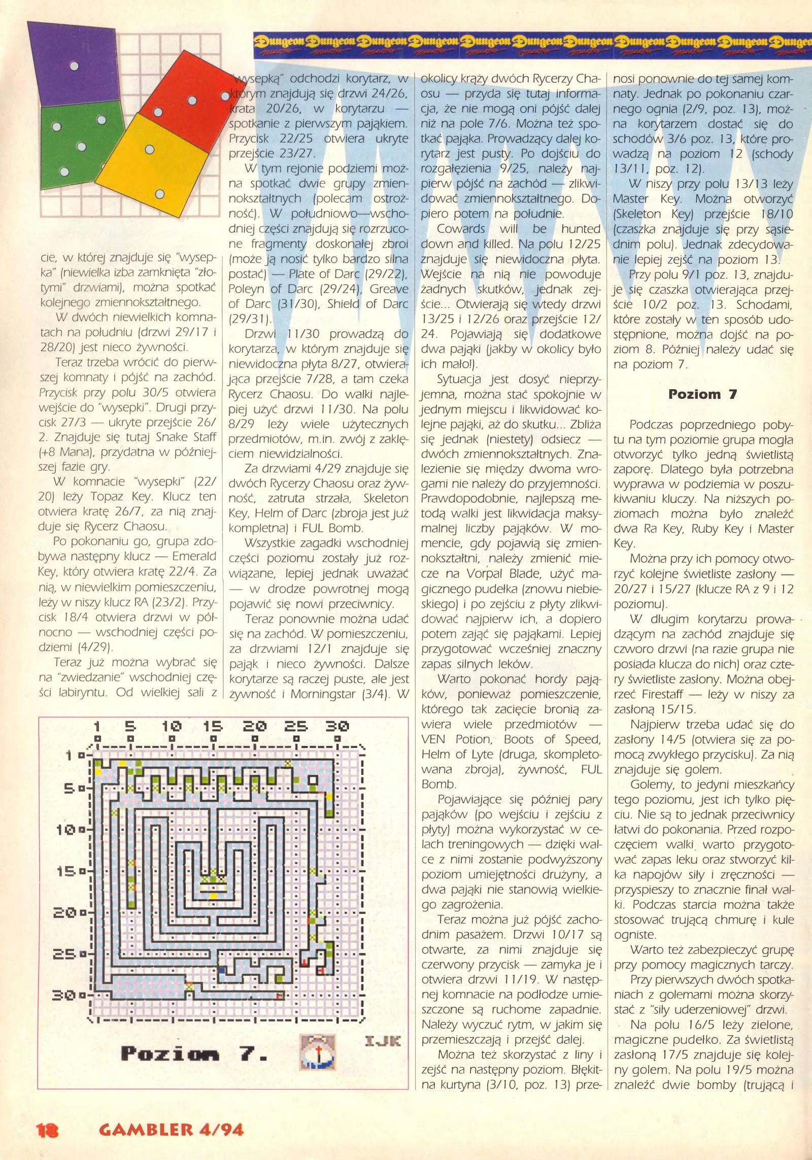 Dungeon Master Guide published in Polish magazine 'Gambler', April 1994, Page 18