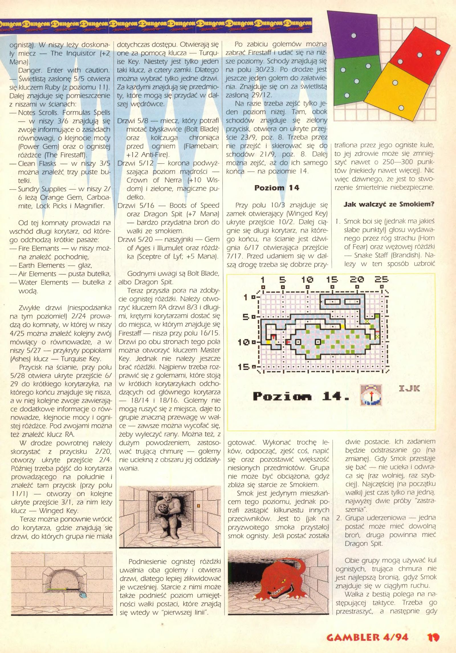 Dungeon Master Guide published in Polish magazine 'Gambler', April 1994, Page 19