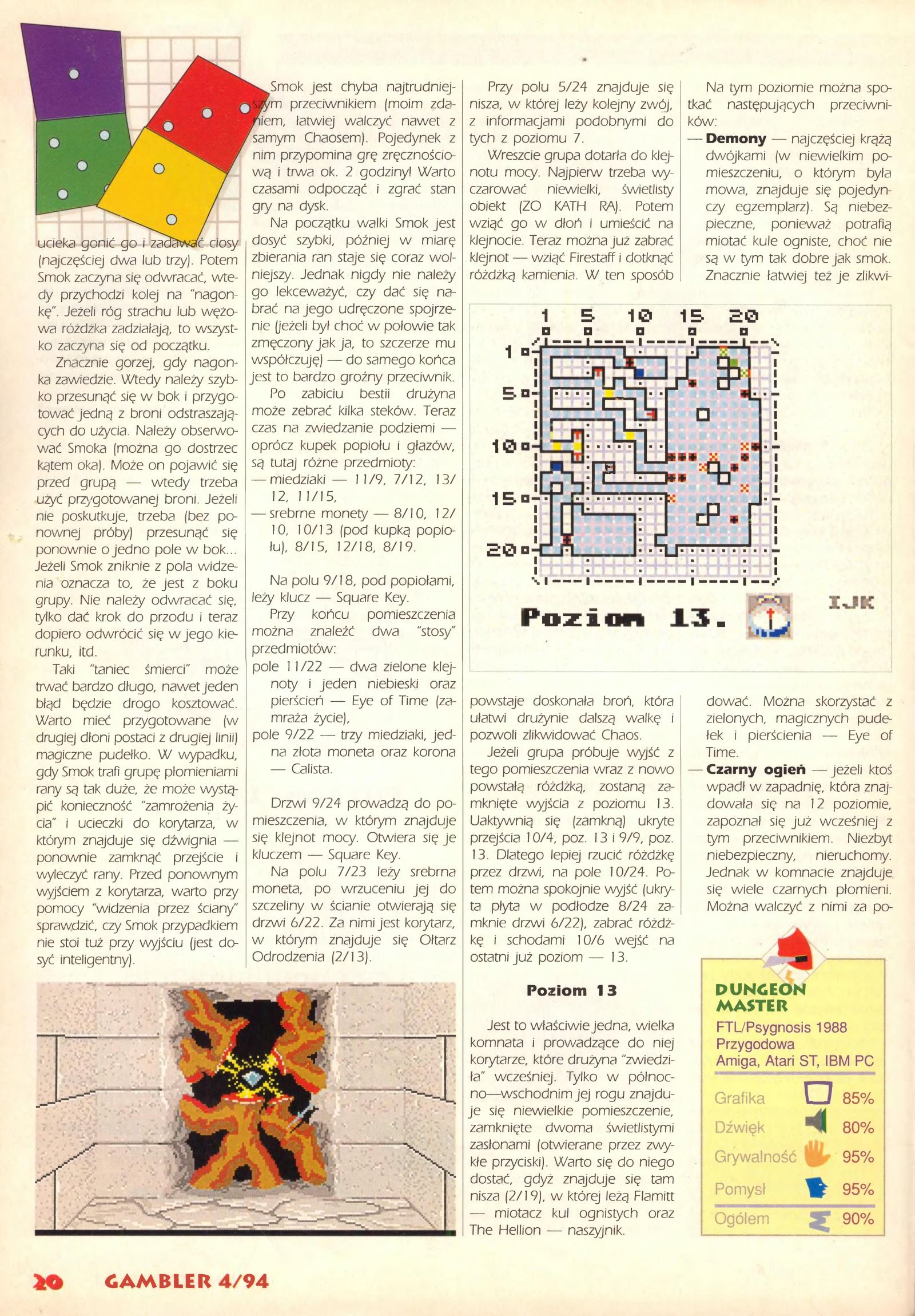 Dungeon Master Guide published in Polish magazine 'Gambler', April 1994, Page 20