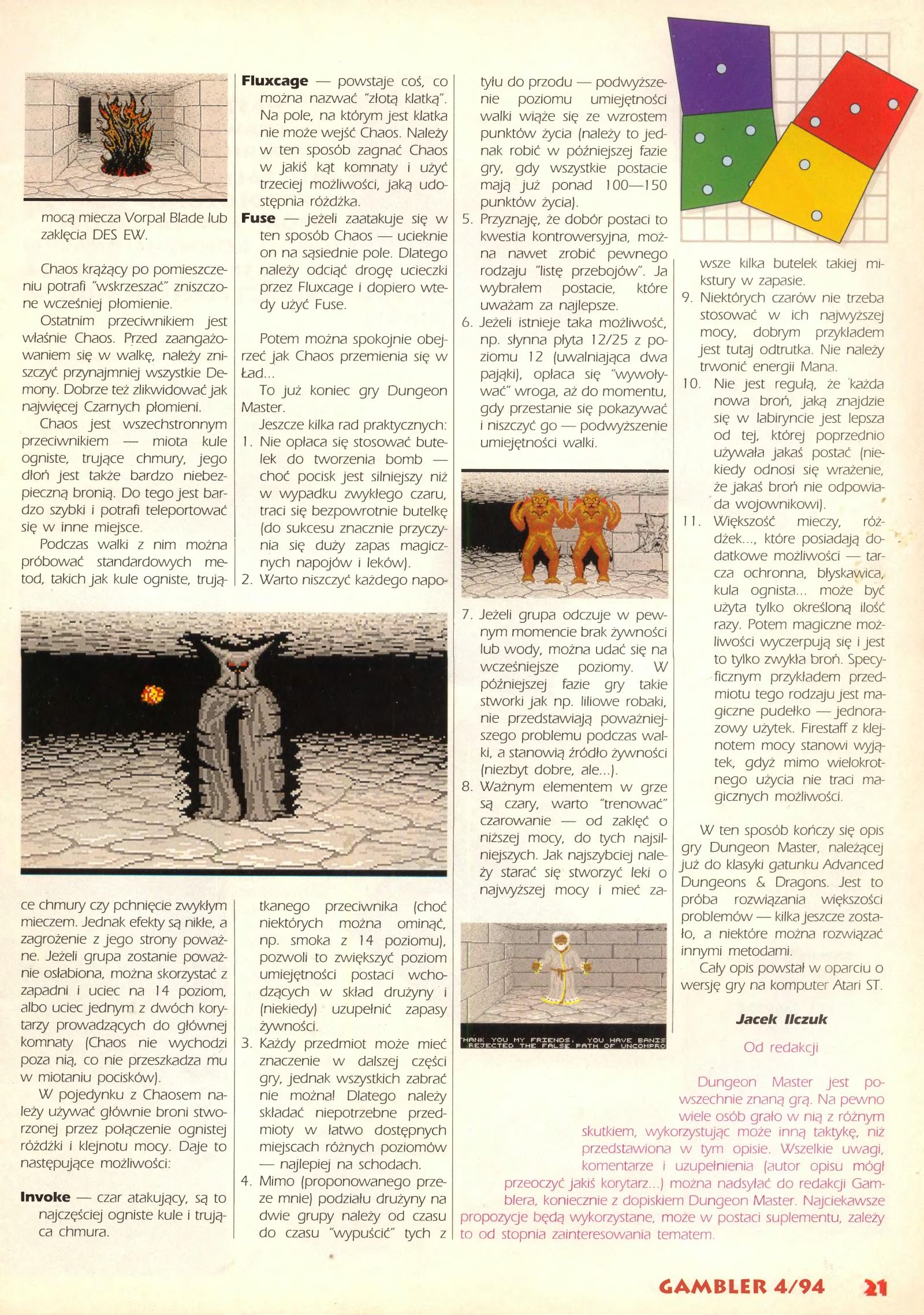 Dungeon Master Guide published in Polish magazine 'Gambler', April 1994, Page 21