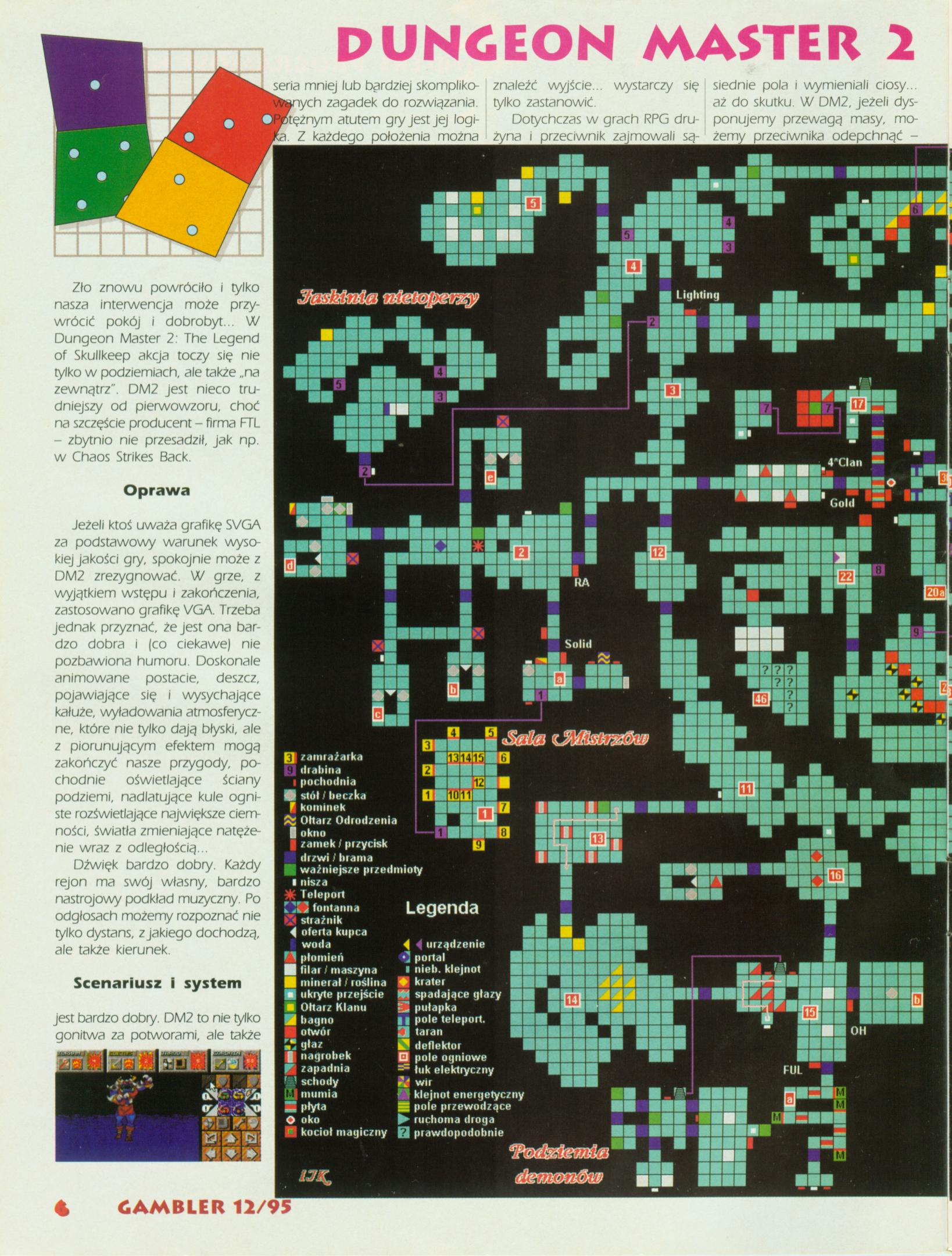 Dungeon Master II Guide published in Polish magazine 'Gambler', December 1995, Page 6