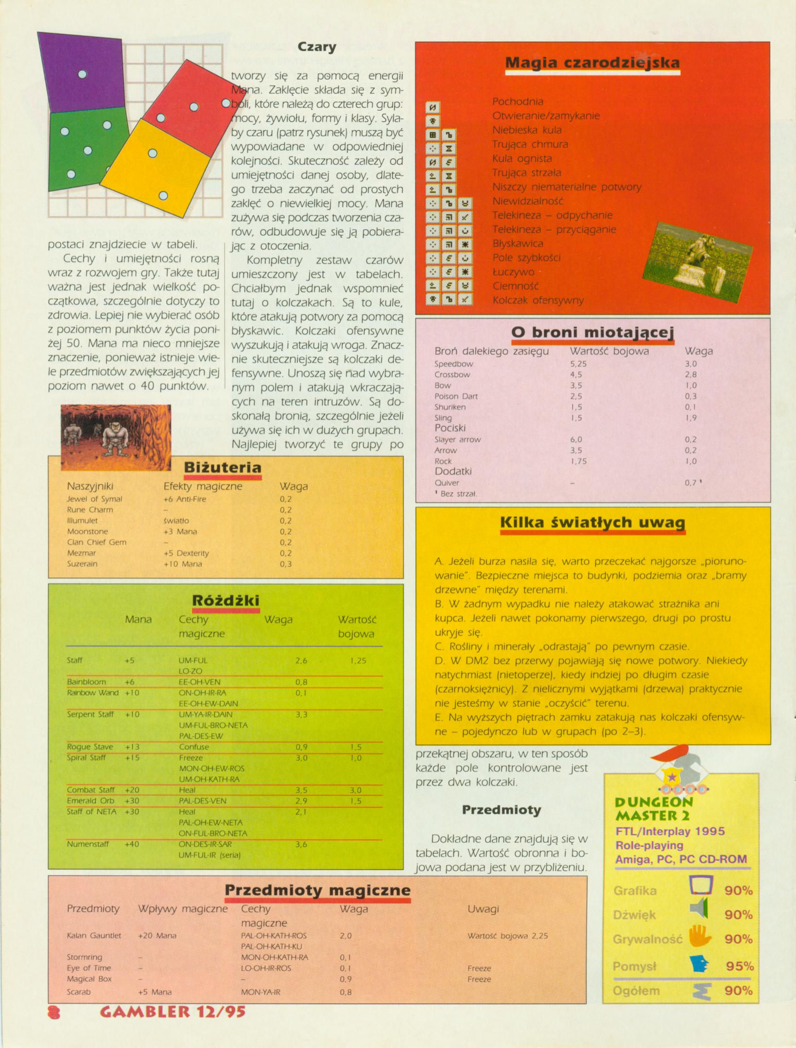 Dungeon Master II Guide published in Polish magazine 'Gambler', December 1995, Page 8