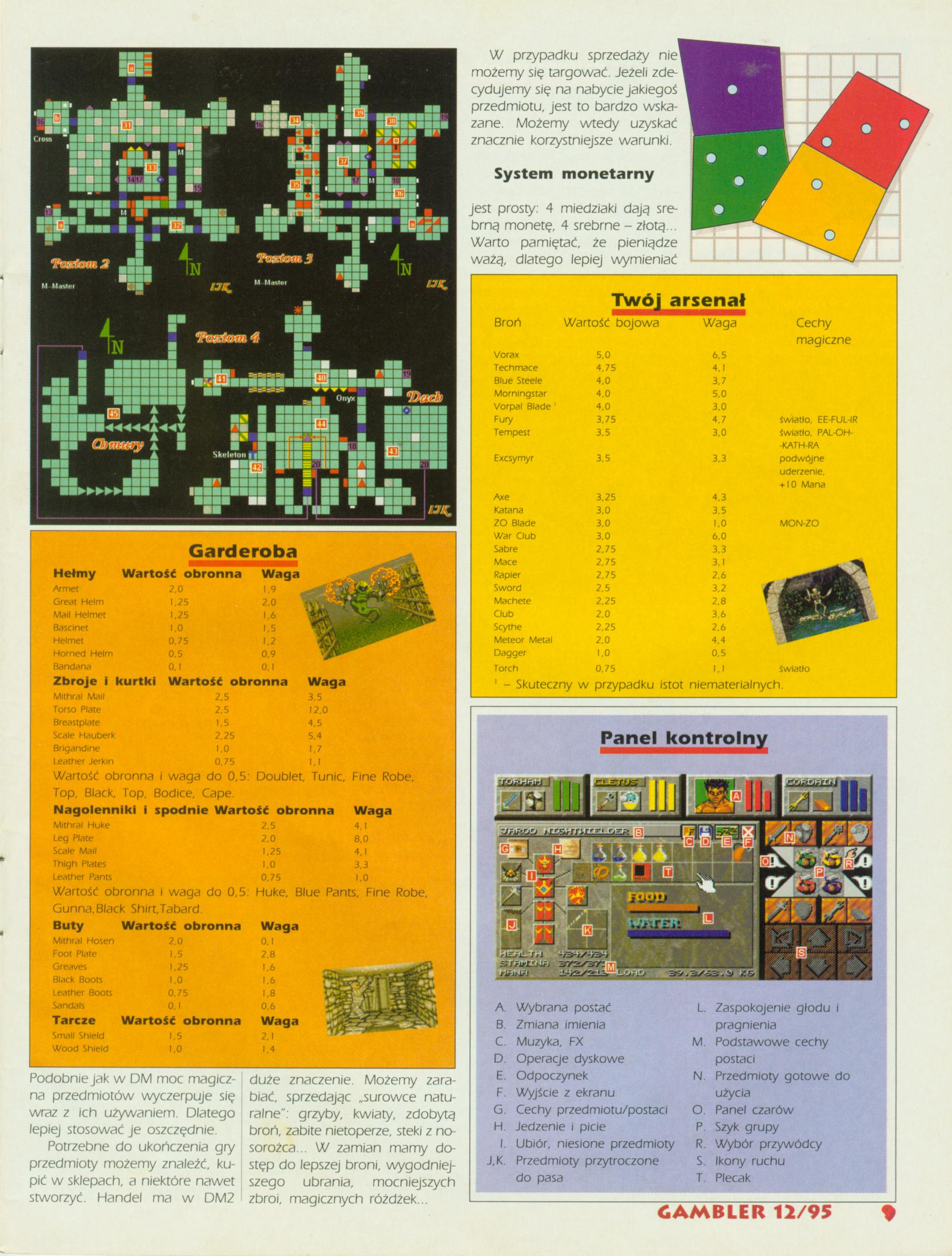 Dungeon Master II Guide published in Polish magazine 'Gambler', December 1995, Page 9