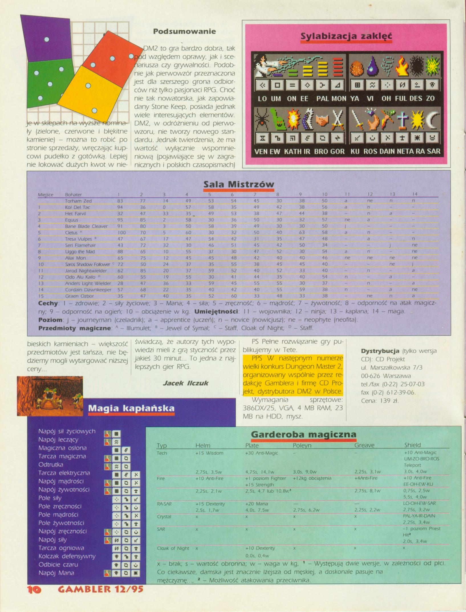 Dungeon Master II Guide published in Polish magazine 'Gambler', December 1995, Page 10
