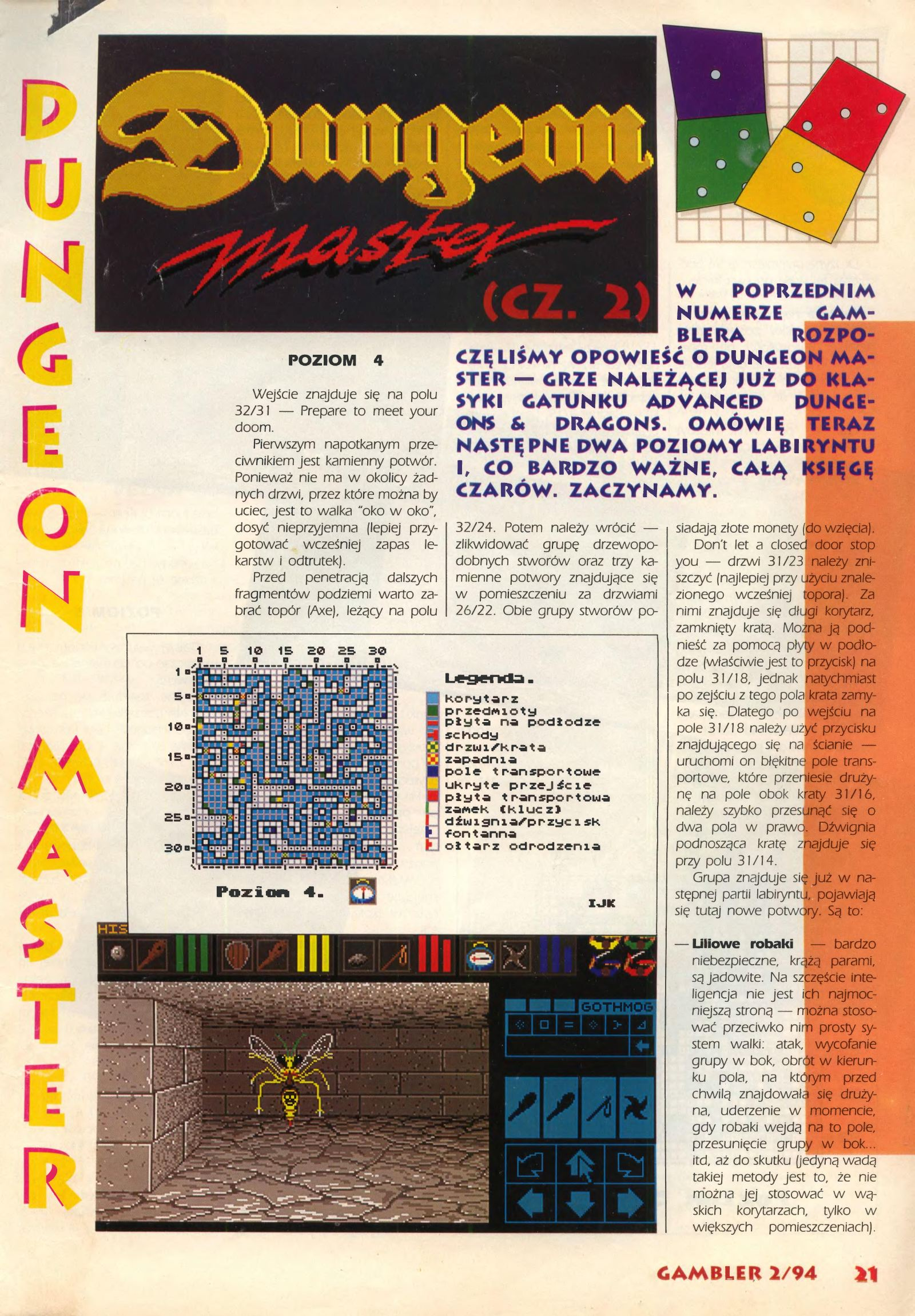 Dungeon Master Guide published in Polish magazine 'Gambler', February 1994, Page 21