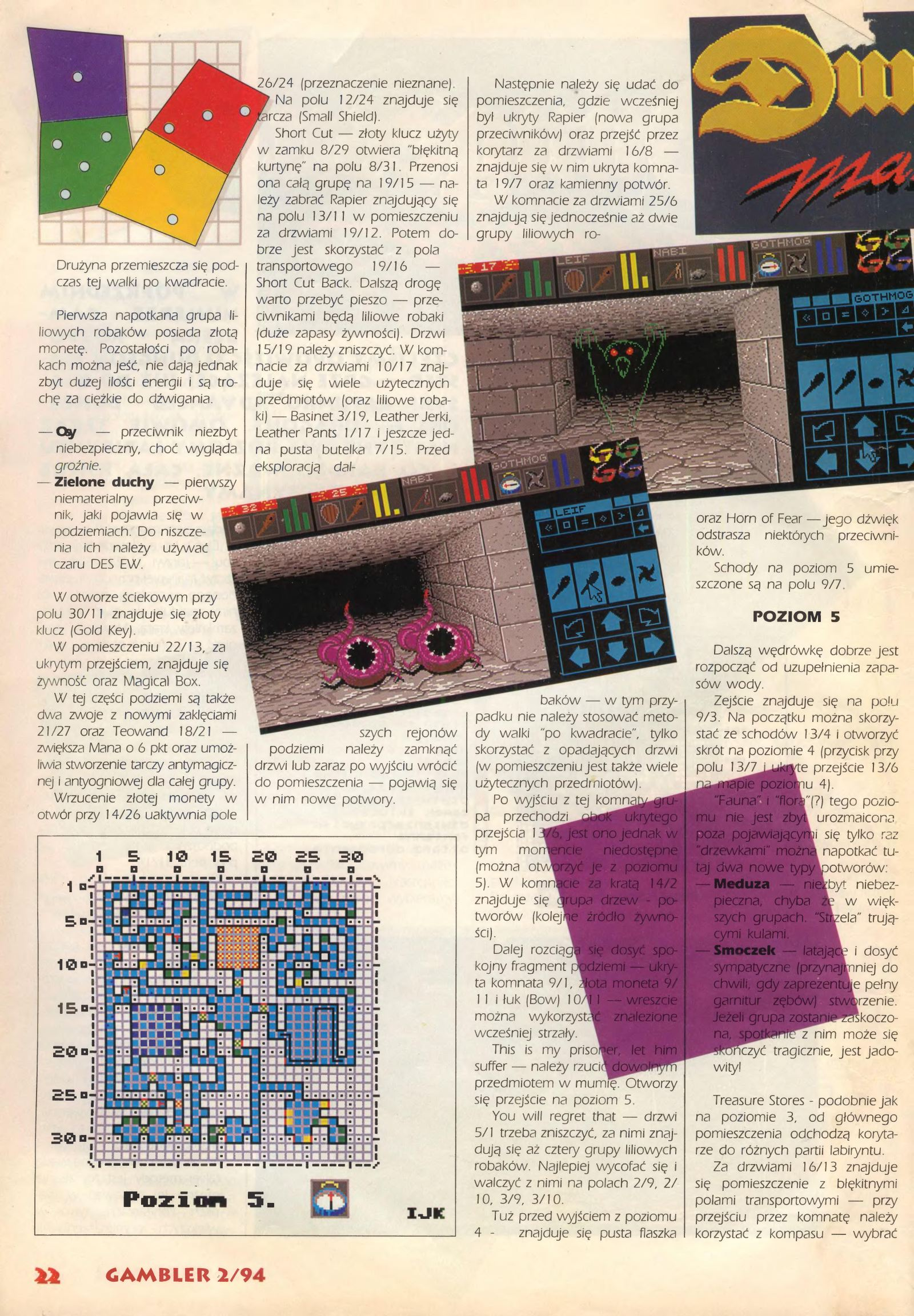Dungeon Master Guide published in Polish magazine 'Gambler', February 1994, Page 22