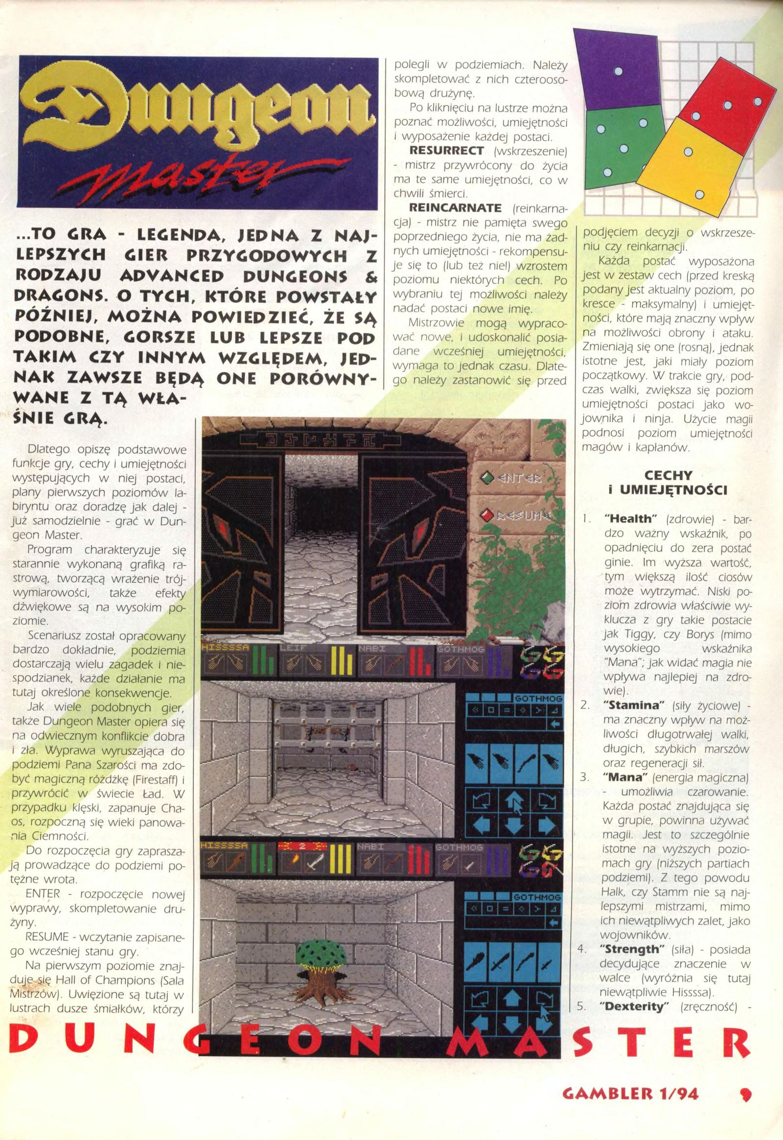 Dungeon Master Guide published in Polish magazine 'Gambler', January 1994, Page 9