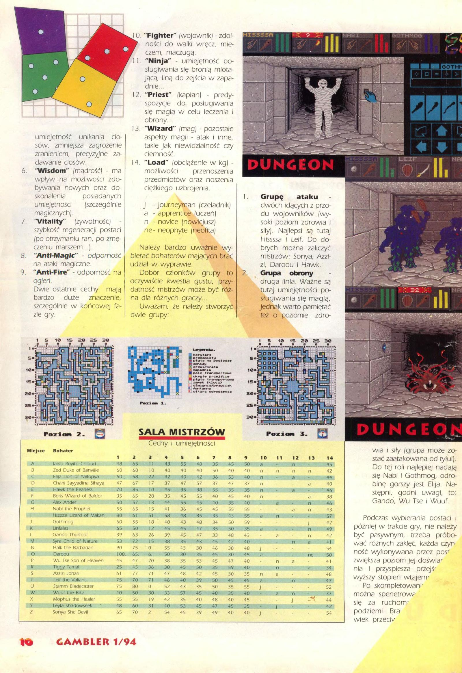 Dungeon Master Guide published in Polish magazine 'Gambler', January 1994, Page 10