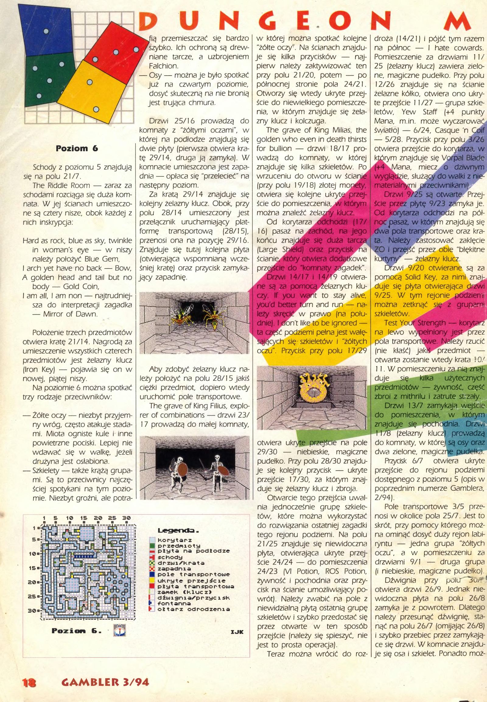 Dungeon Master Guide published in Polish magazine 'Gambler', March 1994, Page 18