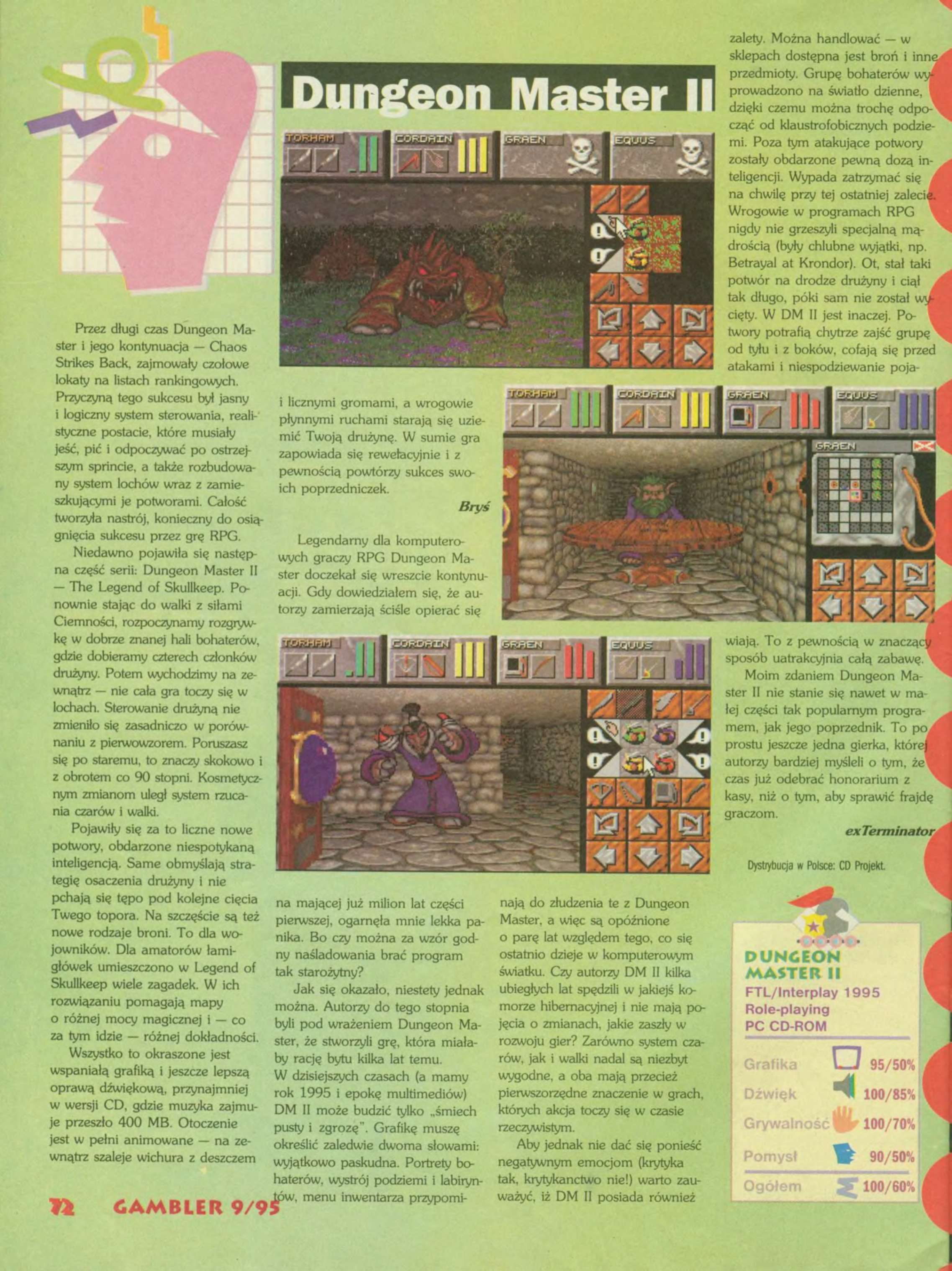 Dungeon Master II Review published in Polish magazine 'Gambler', September 1995, Page 72