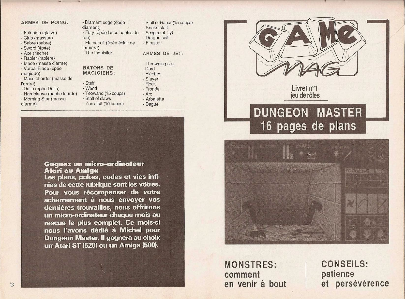 Dungeon Master Guide published in French magazine 'Game Mag', Issue #10 September 1988, Page 29