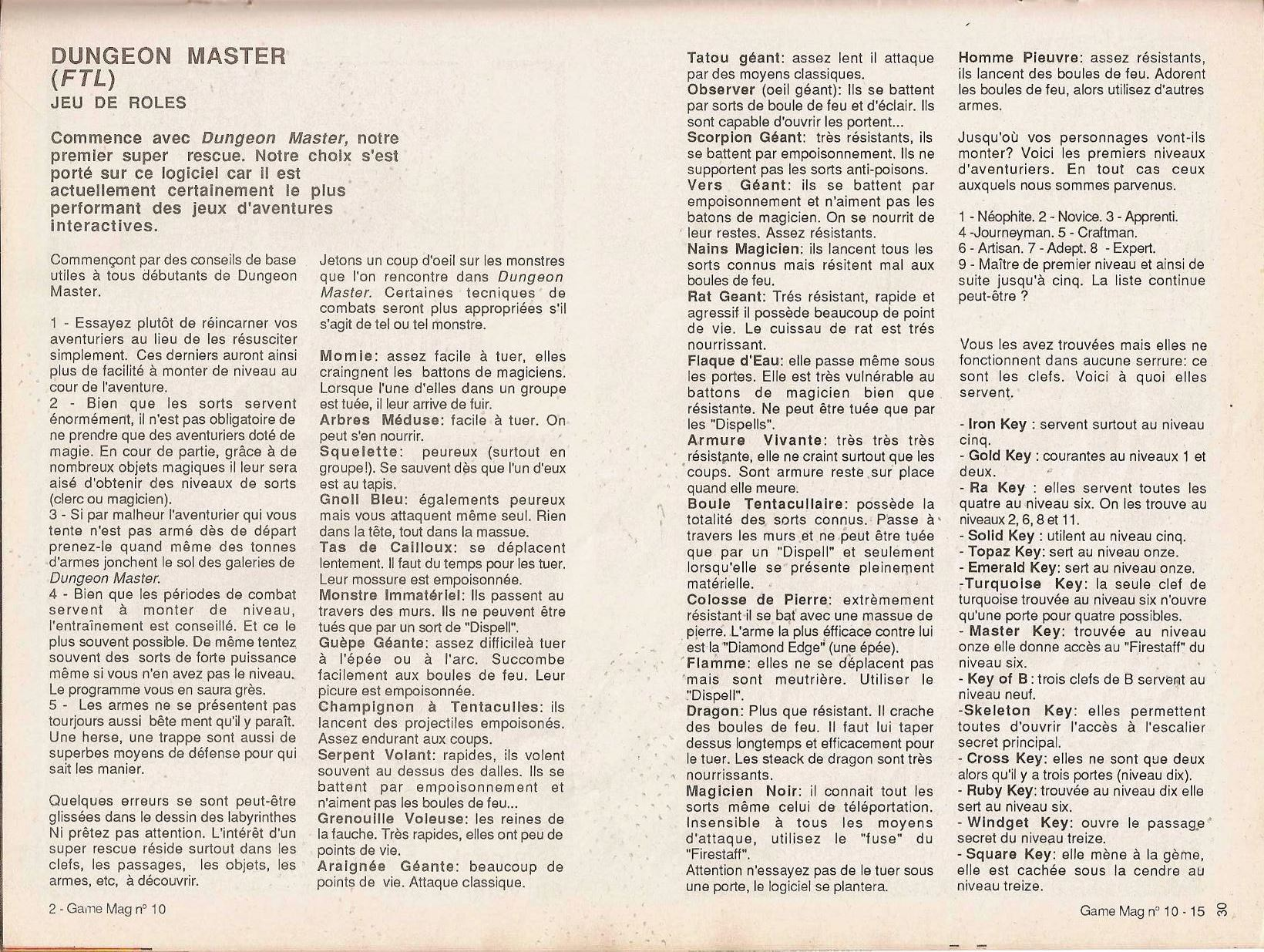 Dungeon Master Guide published in French magazine 'Game Mag', Issue #10 September 1988, Page 30