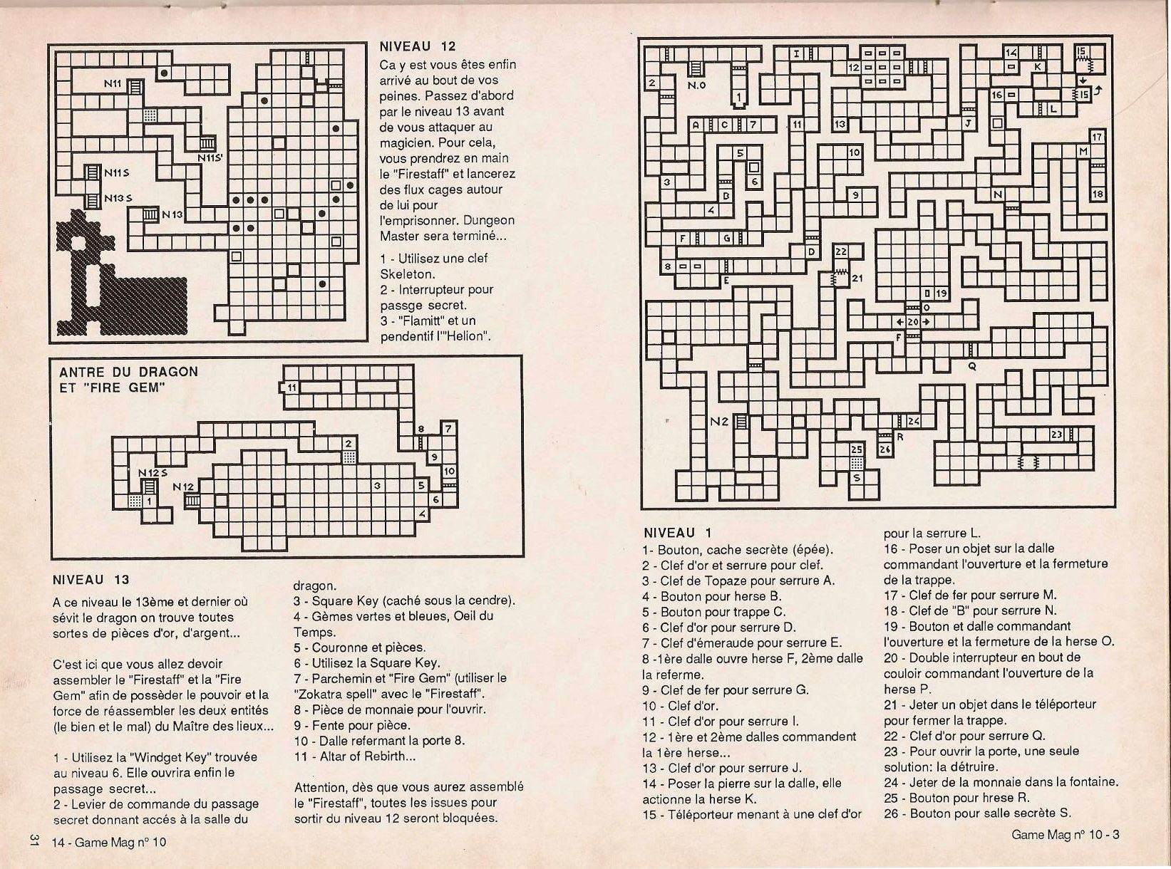 Dungeon Master Guide published in French magazine 'Game Mag', Issue #10 September 1988, Page 31