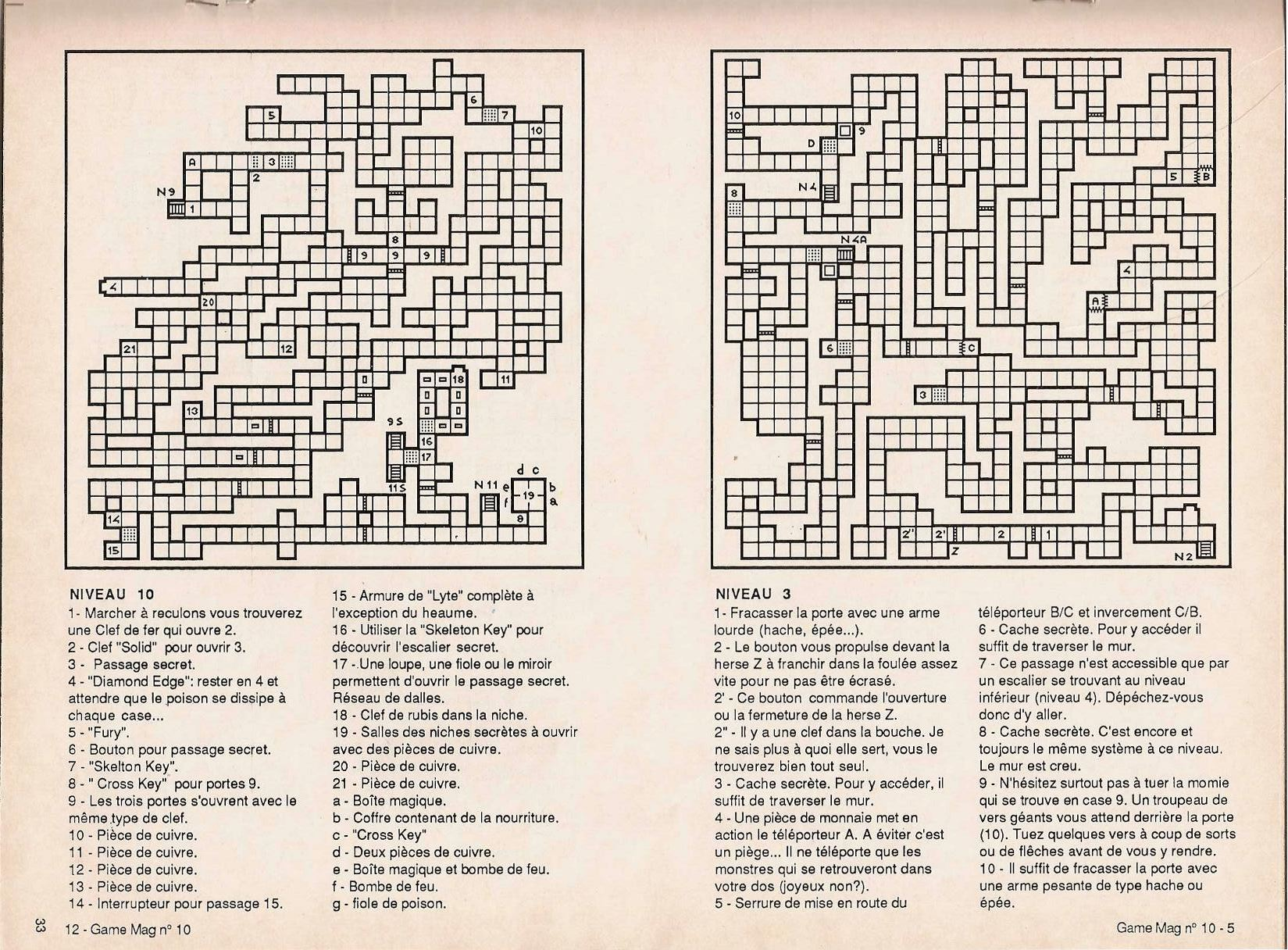 Dungeon Master Guide published in French magazine 'Game Mag', Issue #10 September 1988, Page 33