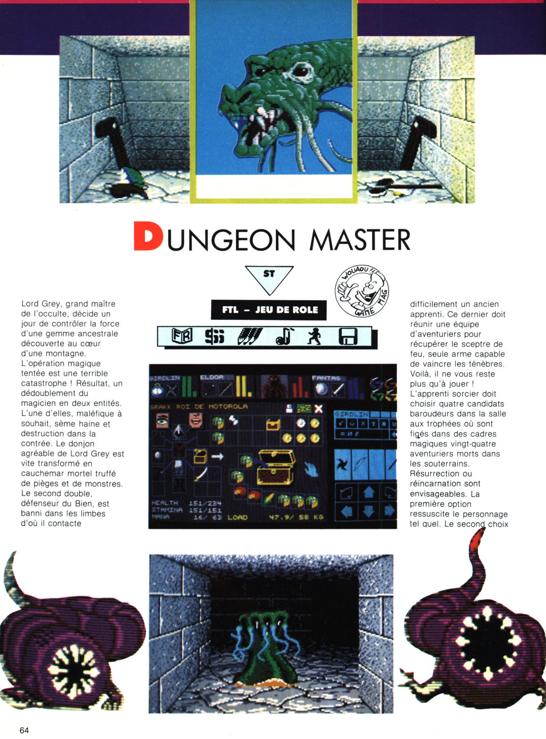 Dungeon Master Review published in French magazine 'Game Mag', Issue #5 March 1988, Page 64