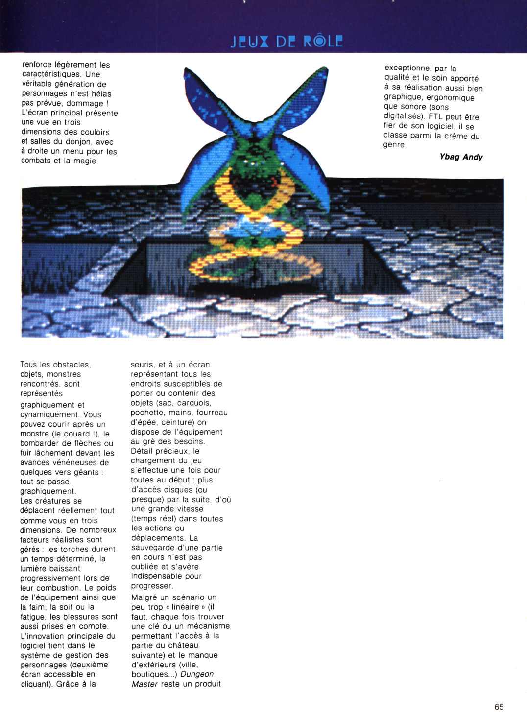 Dungeon Master Review published in French magazine 'Game Mag', Issue #5 March 1988, Page 65