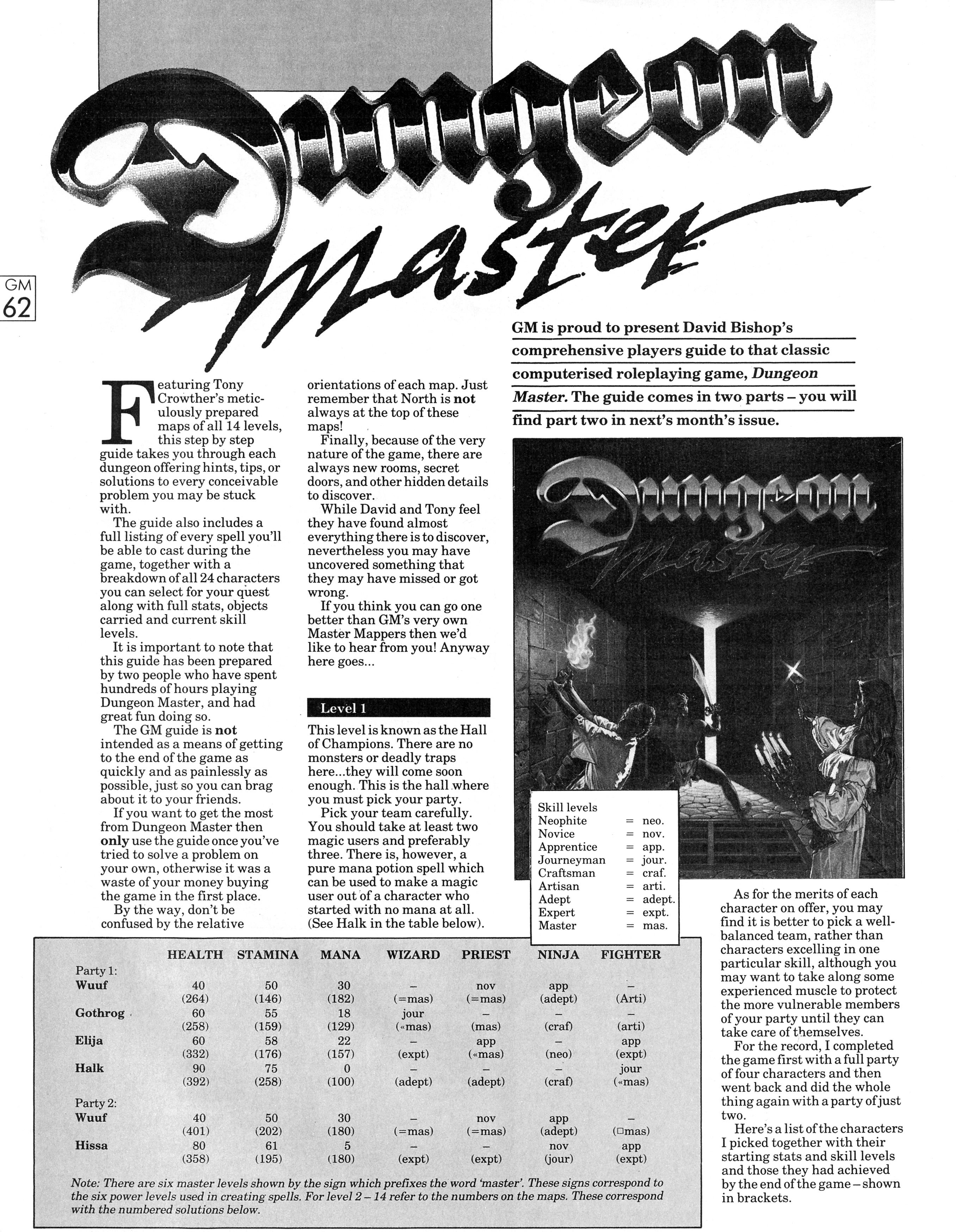 Dungeon Master Guide published in British magazine 'Game Master', Vol 1 No 2 October 1988, Page 62