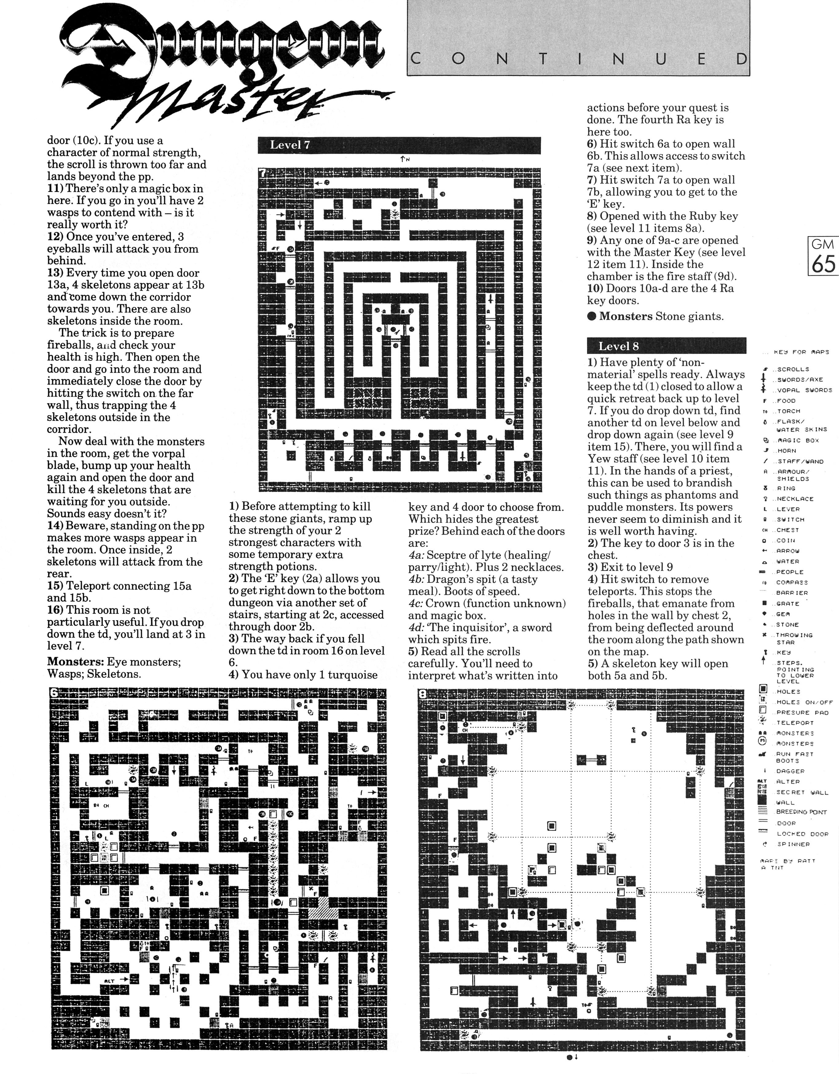 Dungeon Master Guide published in British magazine 'Game Master', Vol 1 No 2 October 1988, Page 65