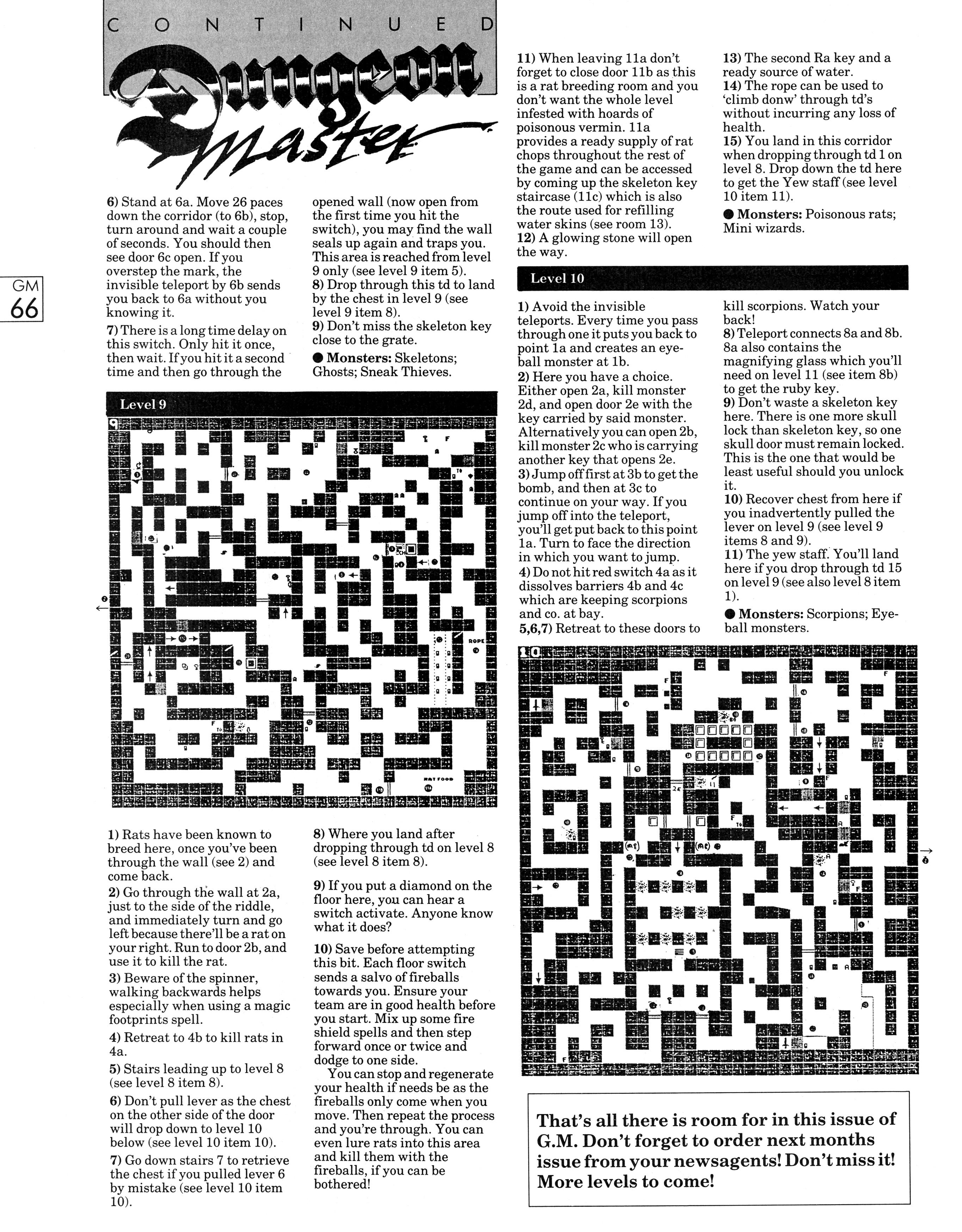 Dungeon Master Guide published in British magazine 'Game Master', Vol 1 No 2 October 1988, Page 66
