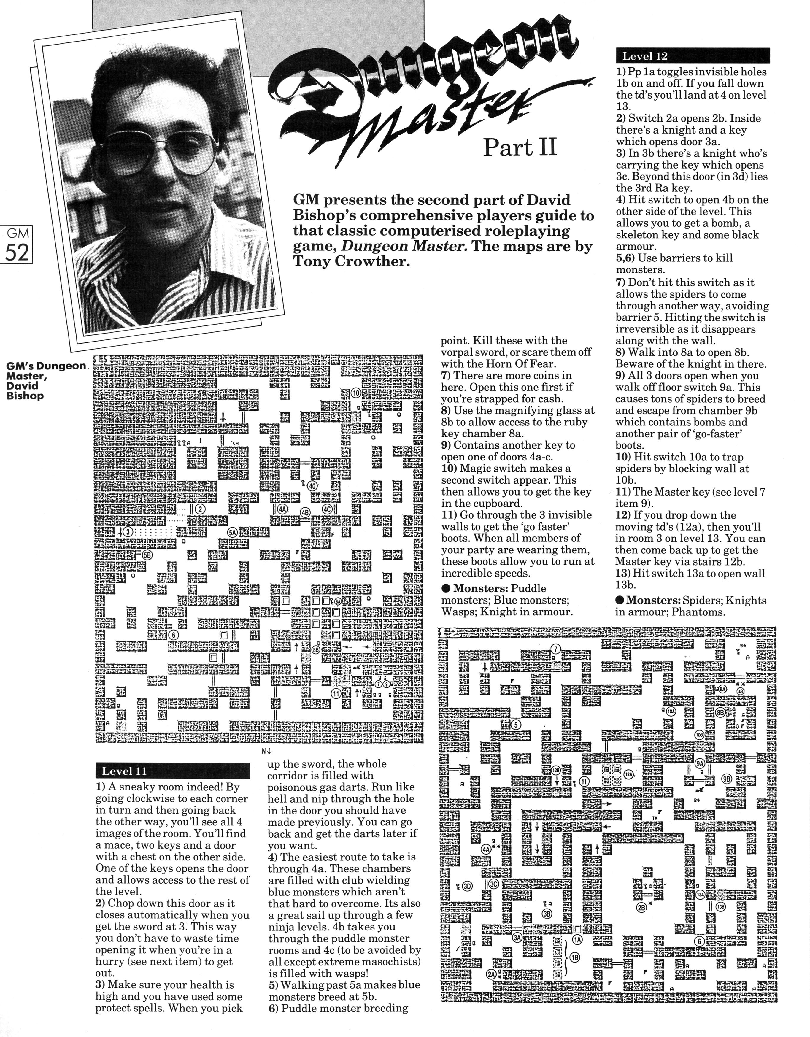 Dungeon Master Guide published in British magazine 'Game Master', Vol 1 No 3 November 1988, Page 52