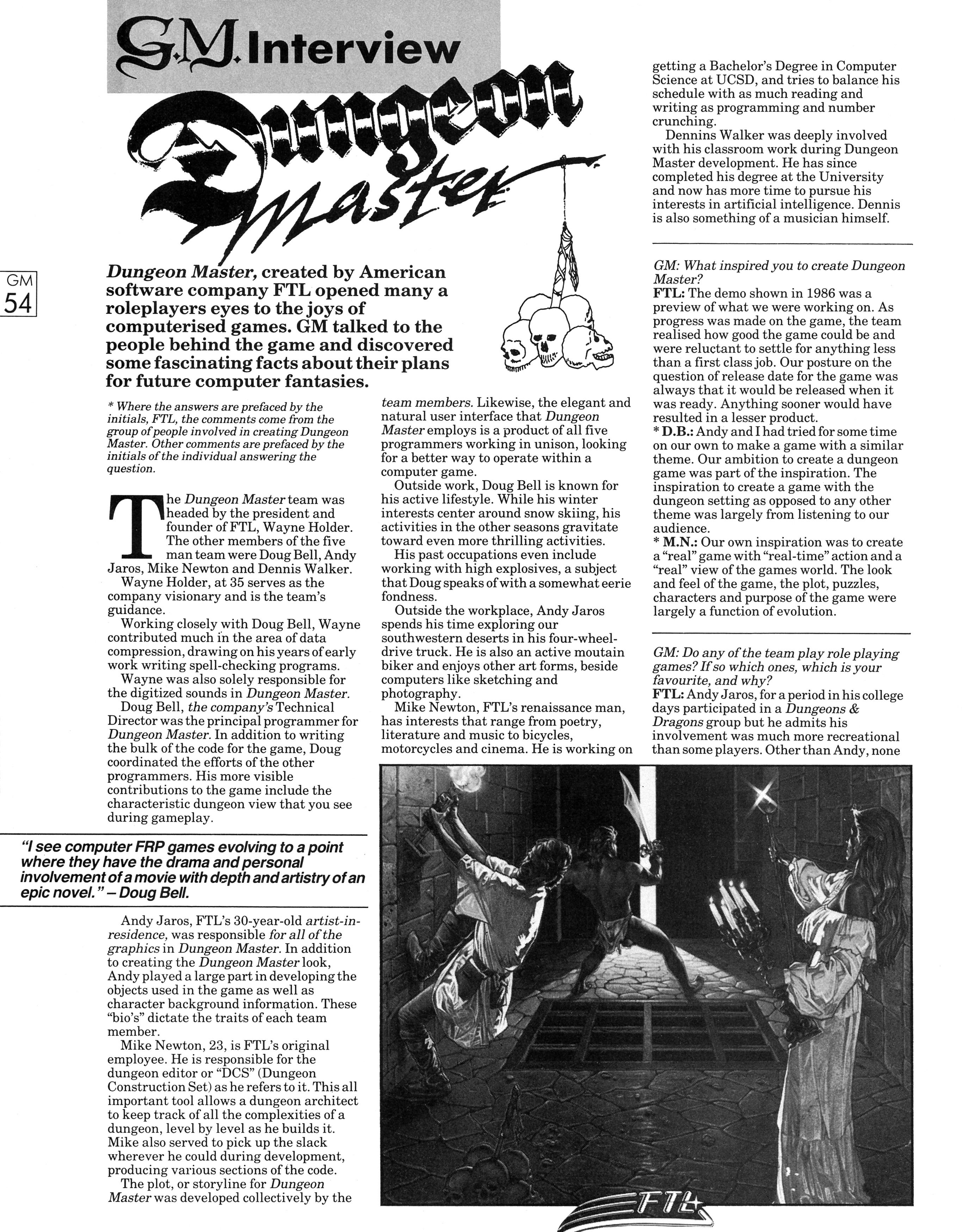 FTL Interview published in British magazine 'Game Master', Vol 1 No 3 November 1988, Page 54