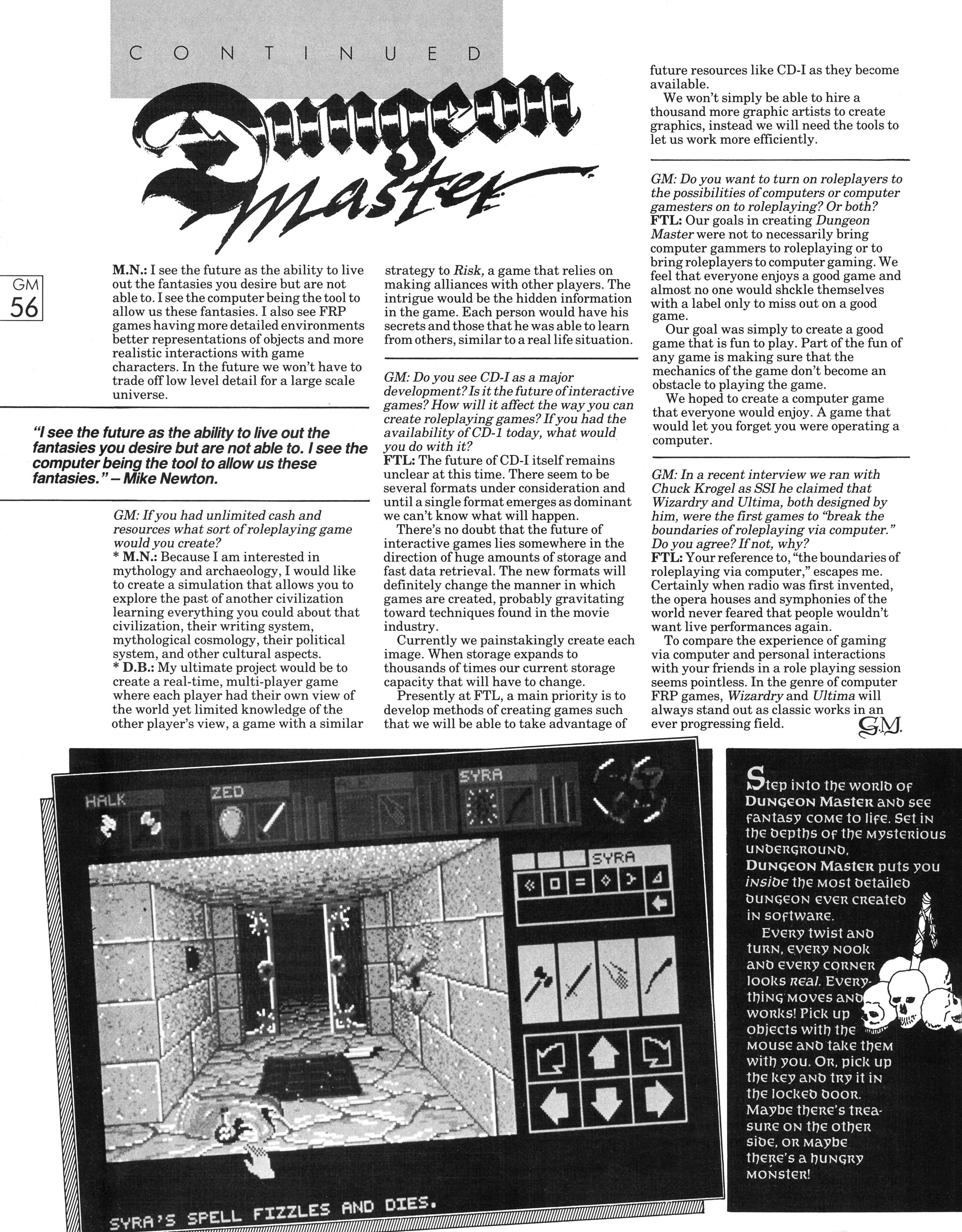 FTL Interview published in British magazine 'Game Master', Vol 1 No 3 November 1988, Page 56