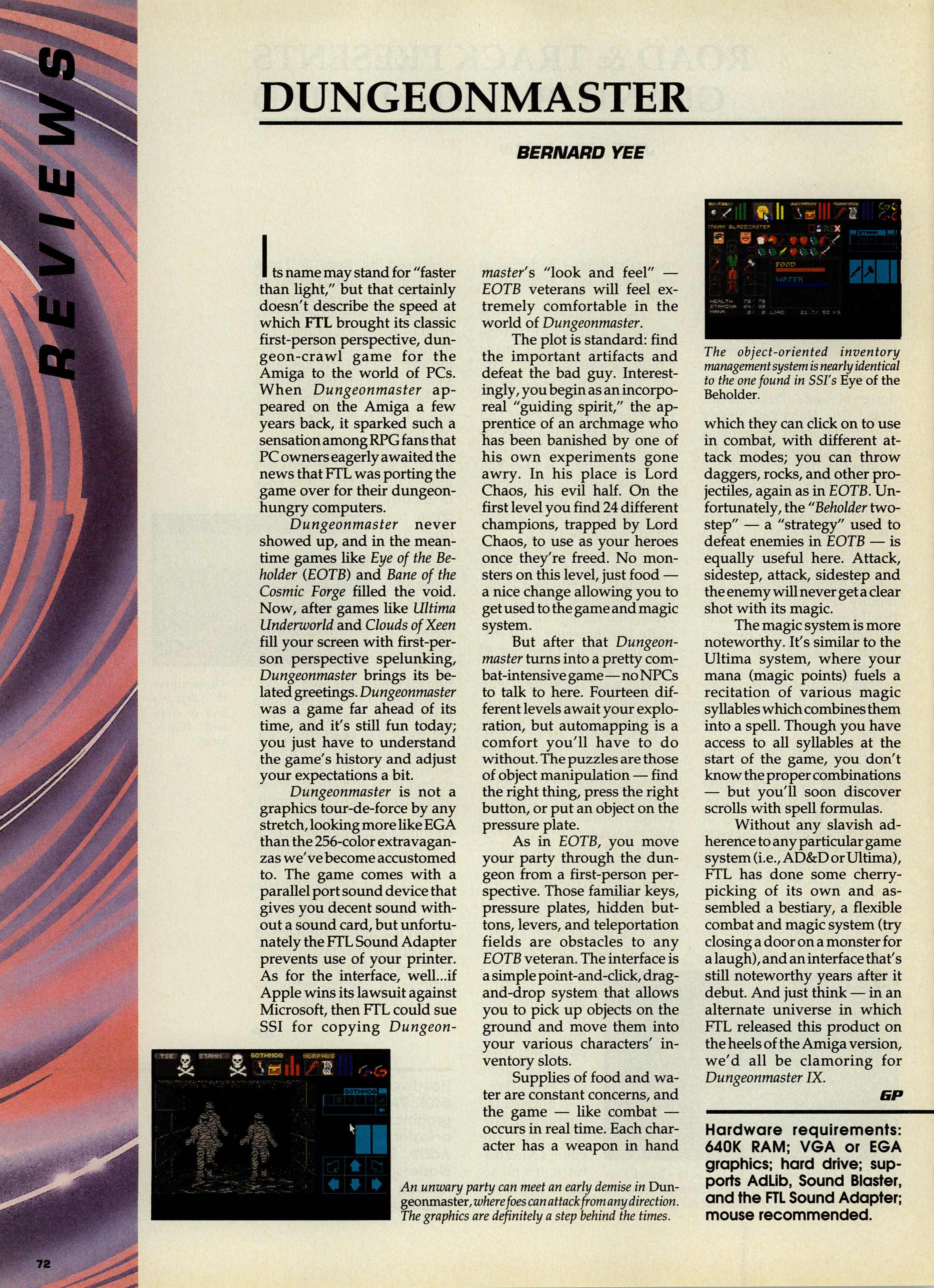 Dungeon Master for PC Review published in Canadian magazine 'Game Player's PC Entertainment', Vol 5 No 5 September-October 1992, Page 72