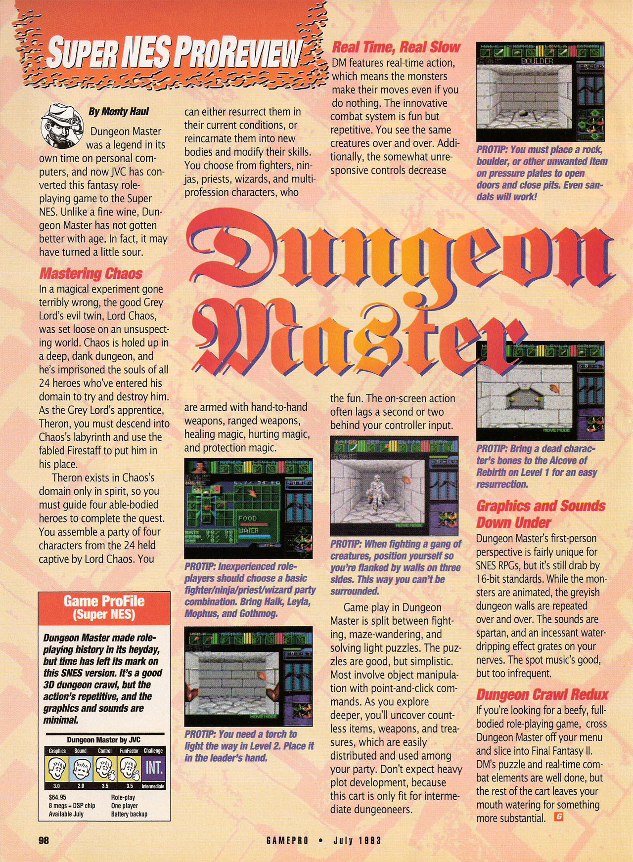 Dungeon Master for Super NES Review published in American magazine 'GamePro', Vol 5 No 7 July 1993, Page 98