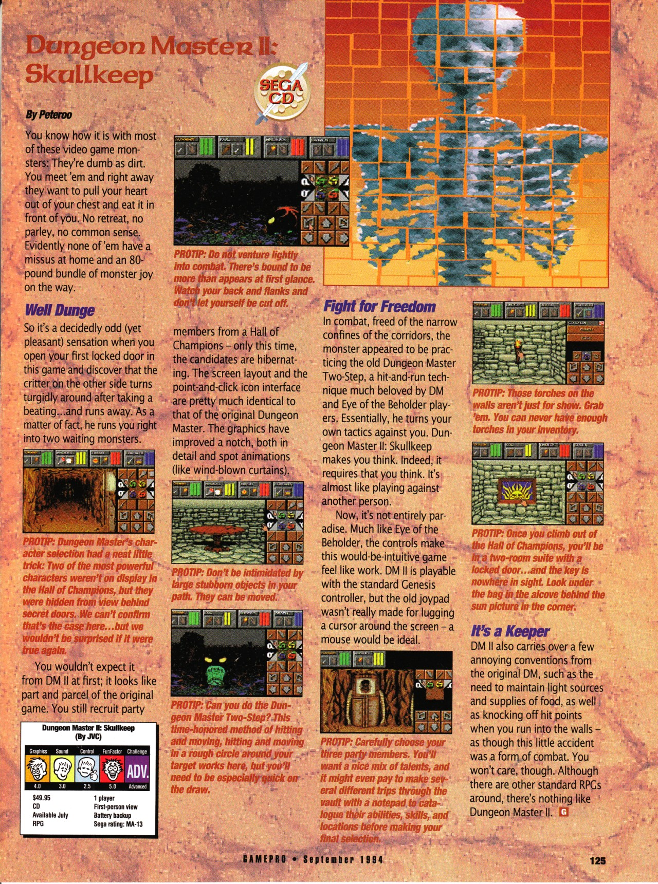 Dungeon Master II for Sega CD Review published in American magazine 'GamePro', Vol 6 No 9 September 1994, Page 125