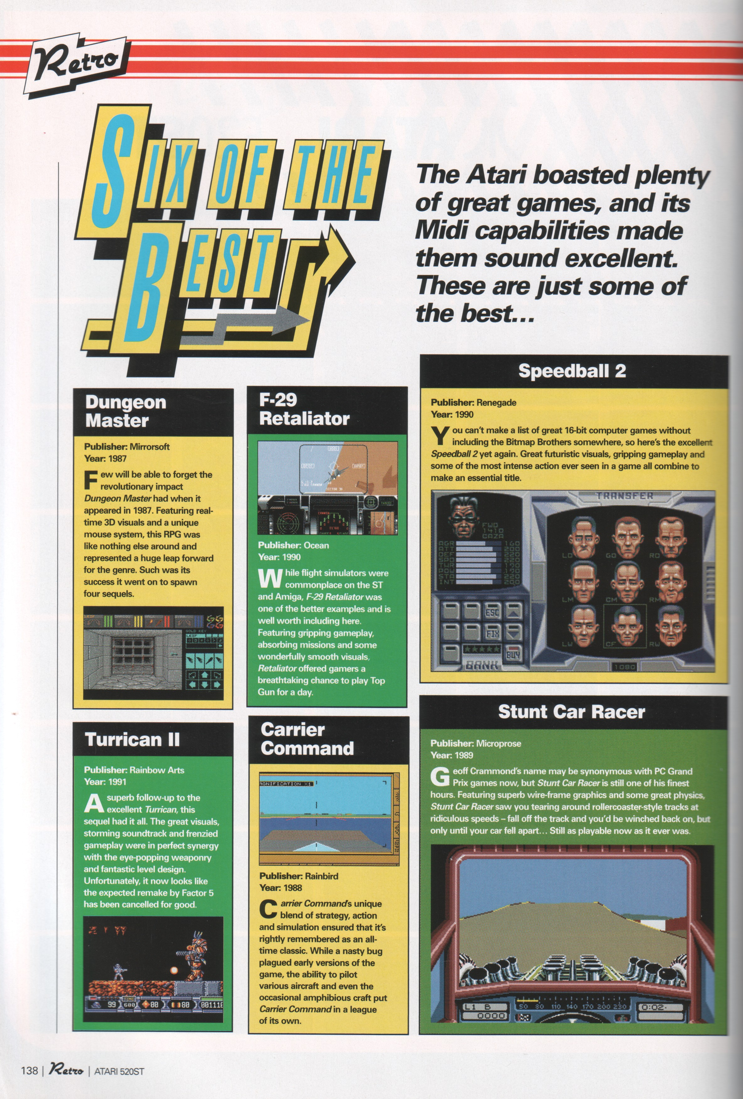 Dungeon Master Article published in British magazine 'Games TM Retro', Vol 1 December 2004, Page 138