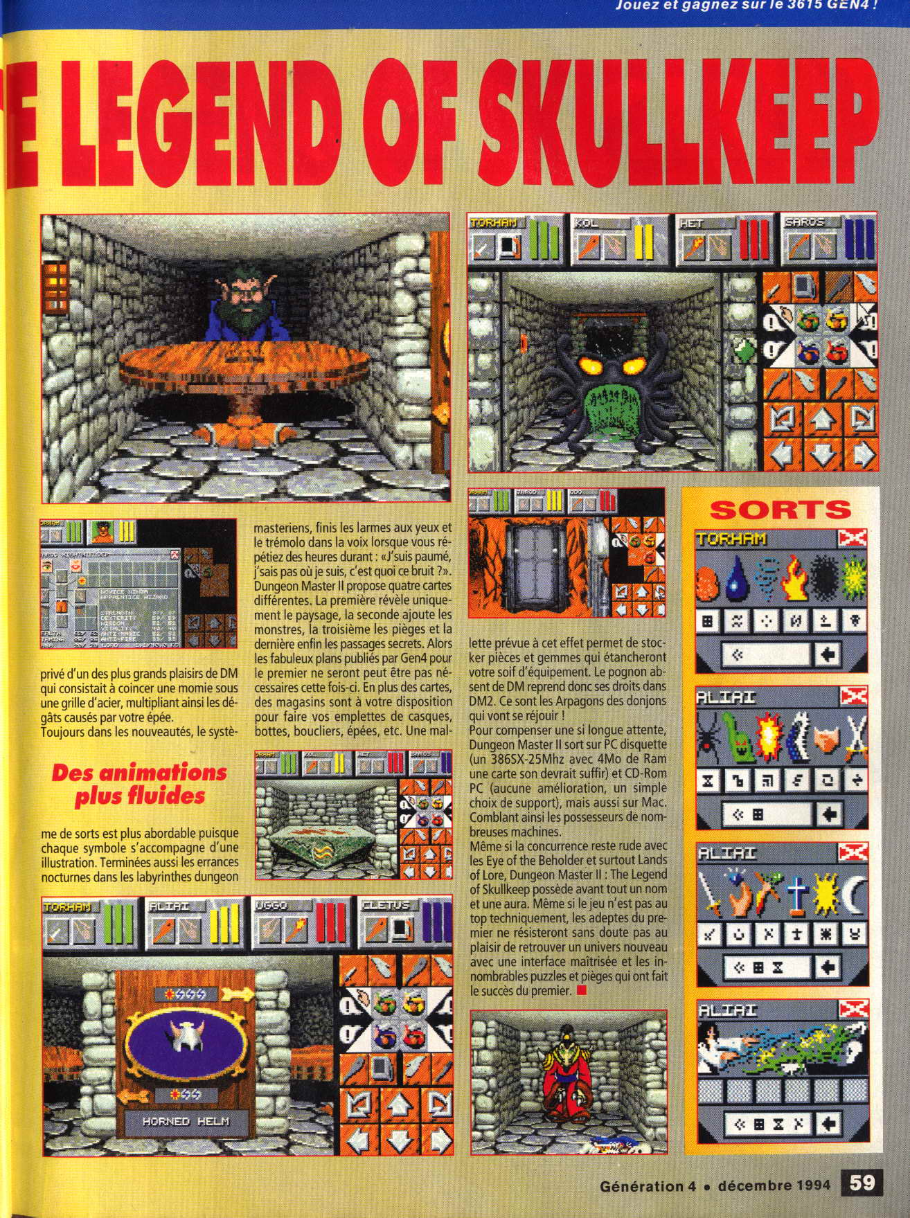 Dungeon Master II for PC Preview published in French magazine 'Generation 4', Issue #72 December 1994, Page 59