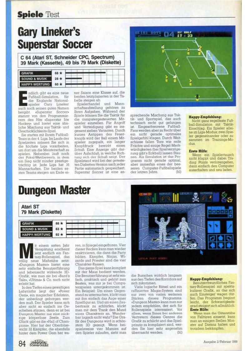 Dungeon Master for Atari ST Review published in German magazine 'Happy Computer', February 1988, Page 84