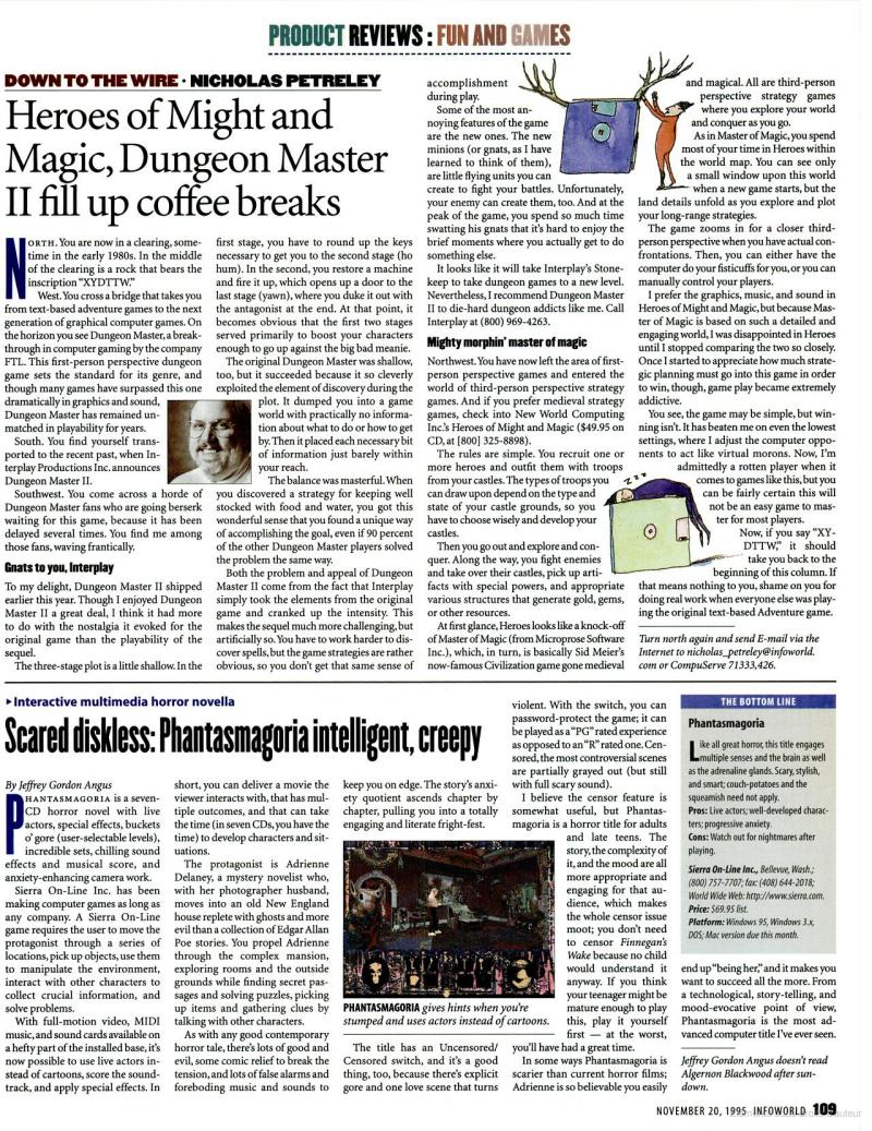Dungeon Master II Review published in American magazine 'InfoWorld', Vol 17 No 47 20 November 1995, Page 109