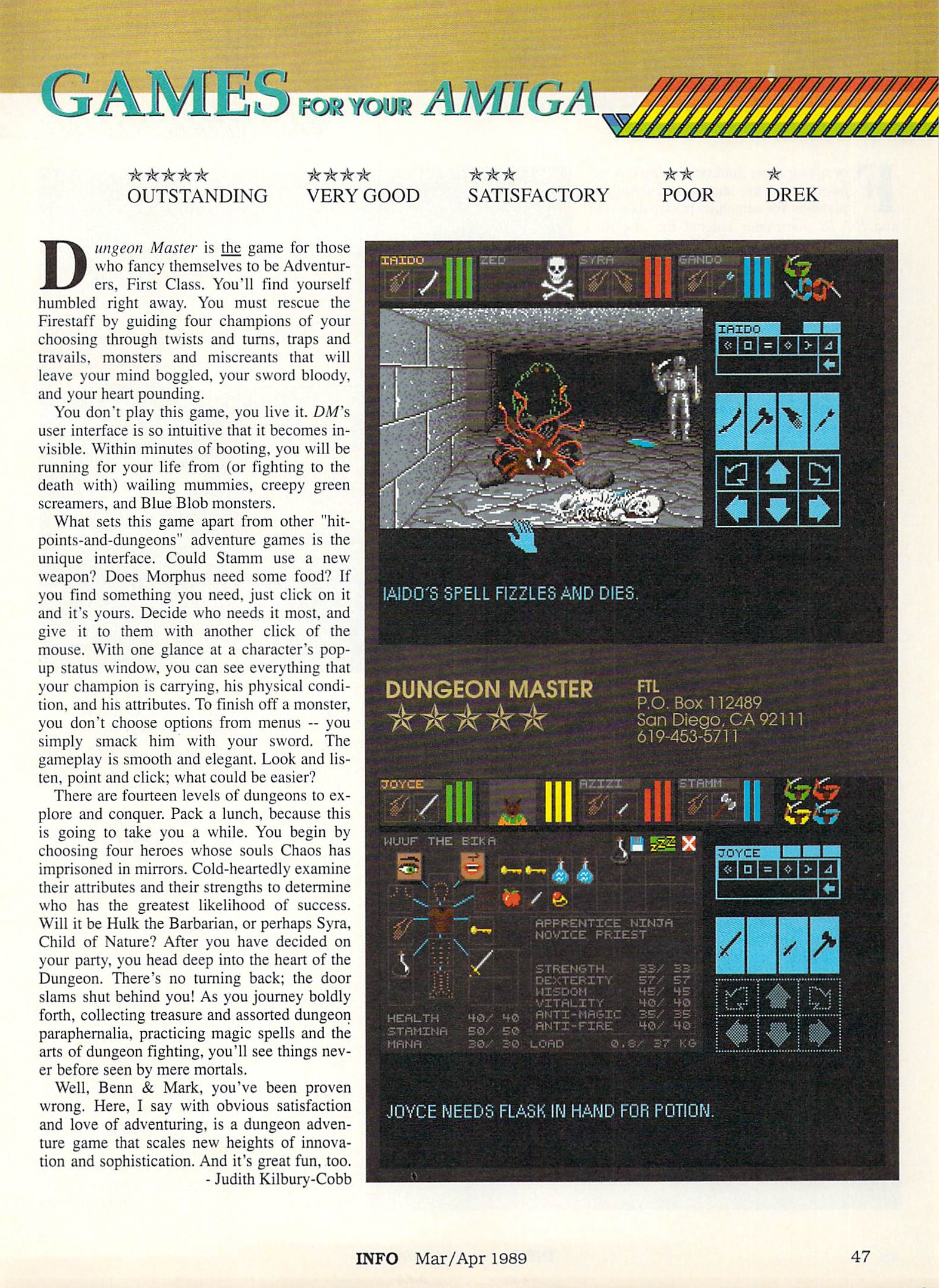 Dungeon Master for Amiga Review published in American magazine 'Info', Issue #25 March-April 1989, Page 47