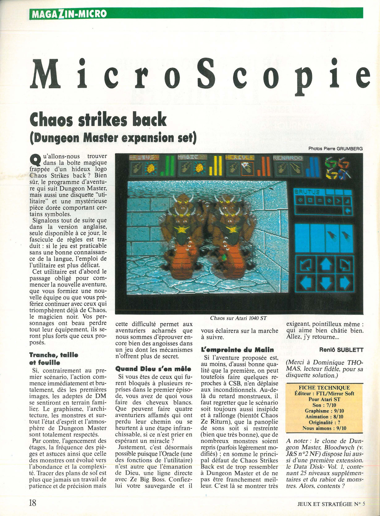 Chaos Strikes Back Review published in French magazine 'Jeux et Strategie', Issue #5 March 1990, Page 18