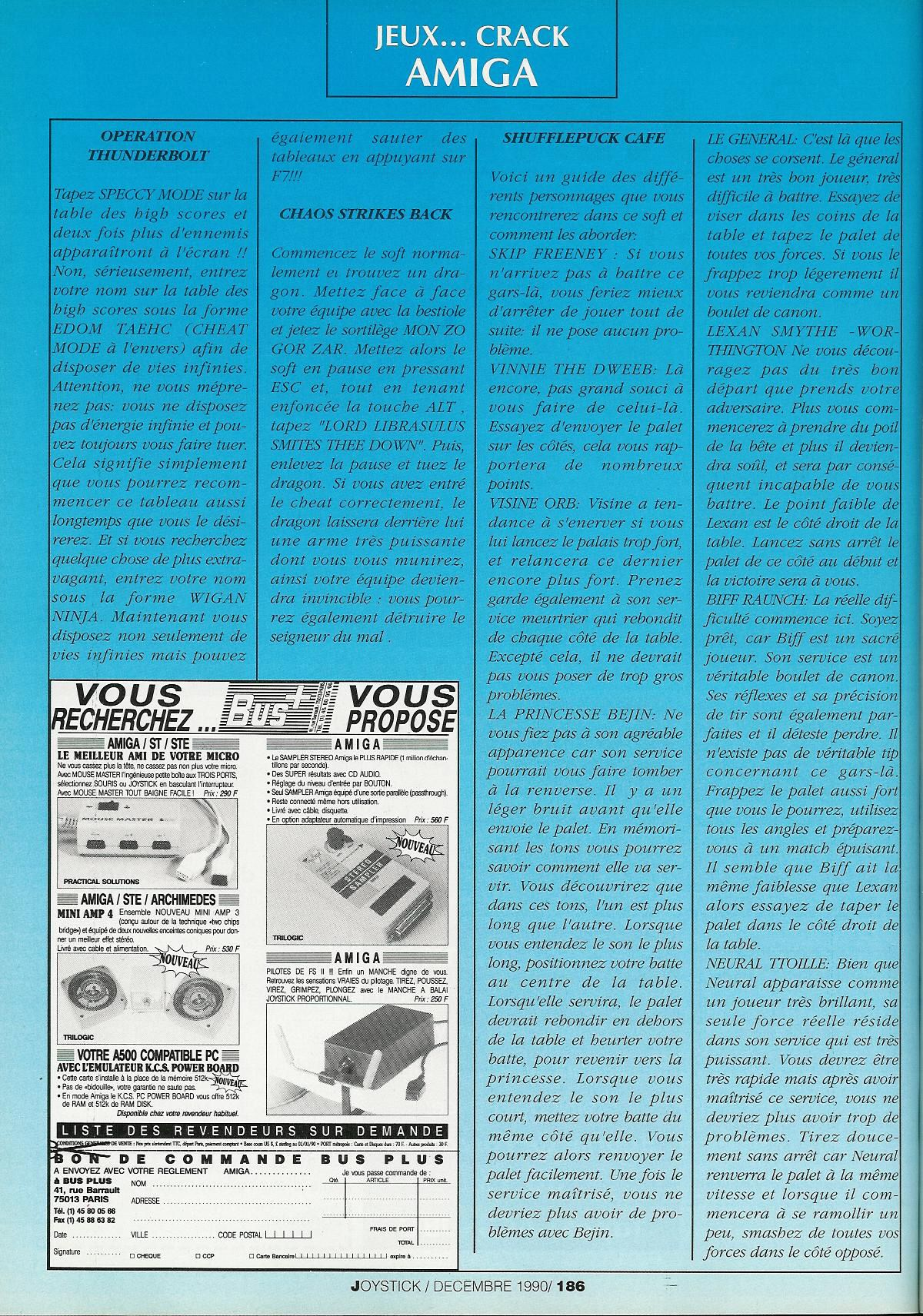 Chaos Strikes Back for Amiga Fake CSB Cheat published in French magazine 'Joystick', Issue #11 December 1990, Page 186
