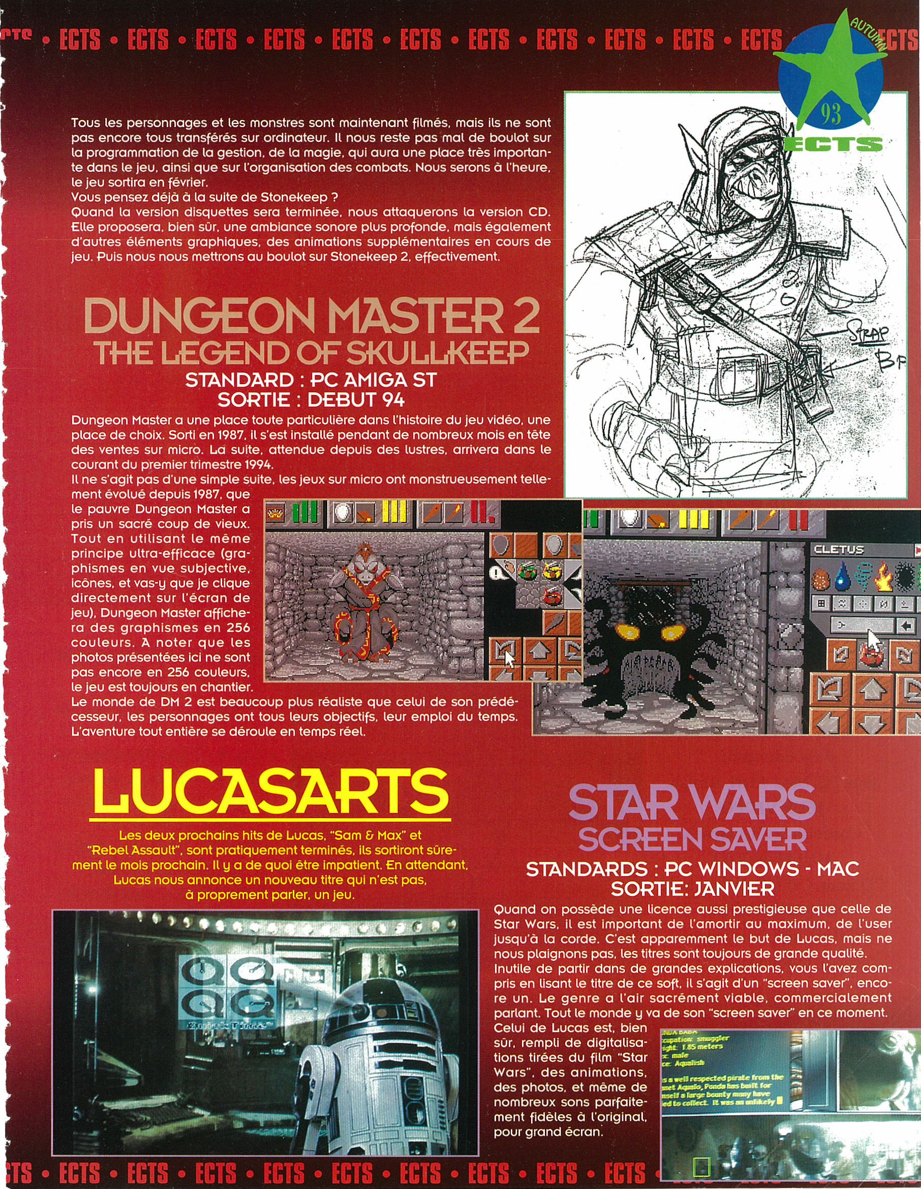 Dungeon Master II for Amiga-PC Preview published in French magazine 'Joystick', Issue #42 October 1993, Page 29