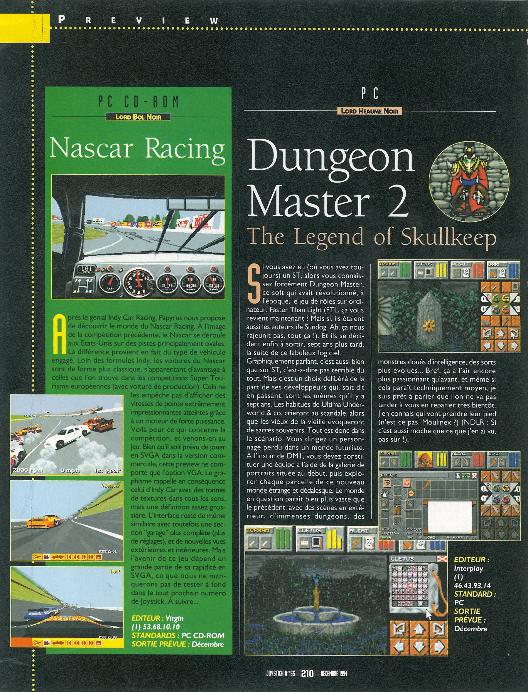 Dungeon Master II Preview published in French magazine 'Joystick', Issue #55 December 1994, Page 210