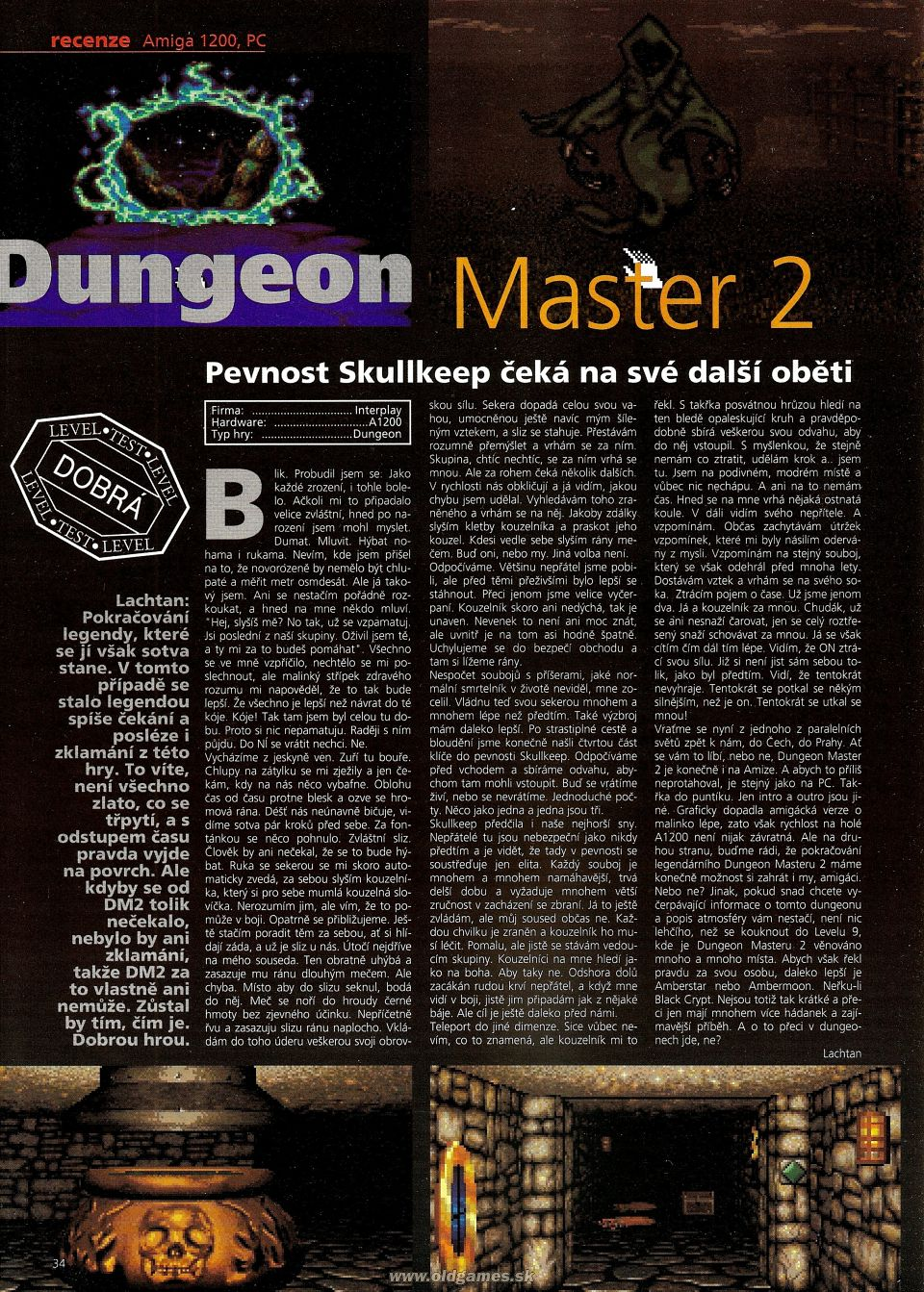Dungeon Master II for Amiga Review published in Czech magazine 'Level', Issue #12 January 1996, Page 34